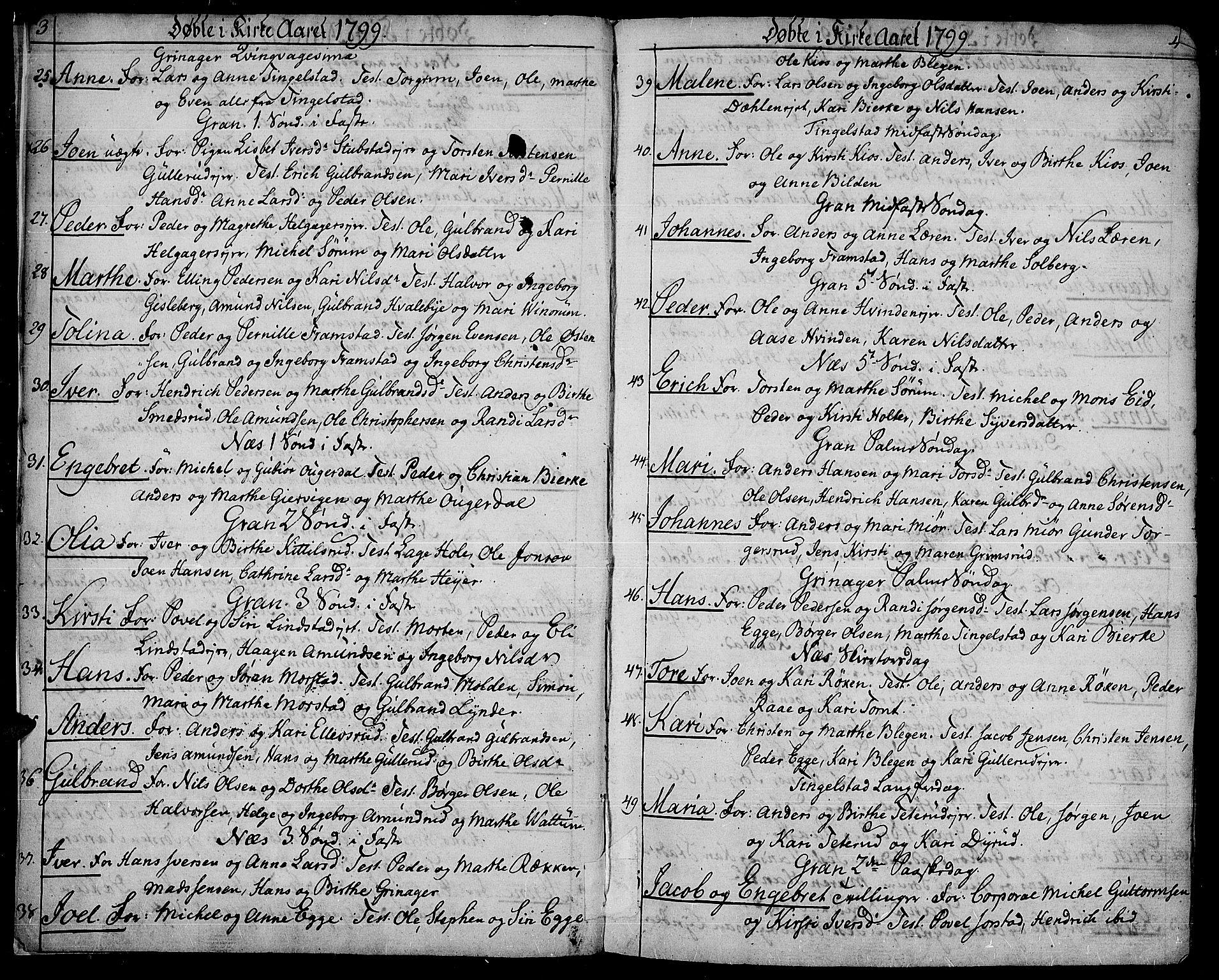 SAH, Gran prestekontor, Ministerialbok nr. 8, 1798-1811, s. 3-4