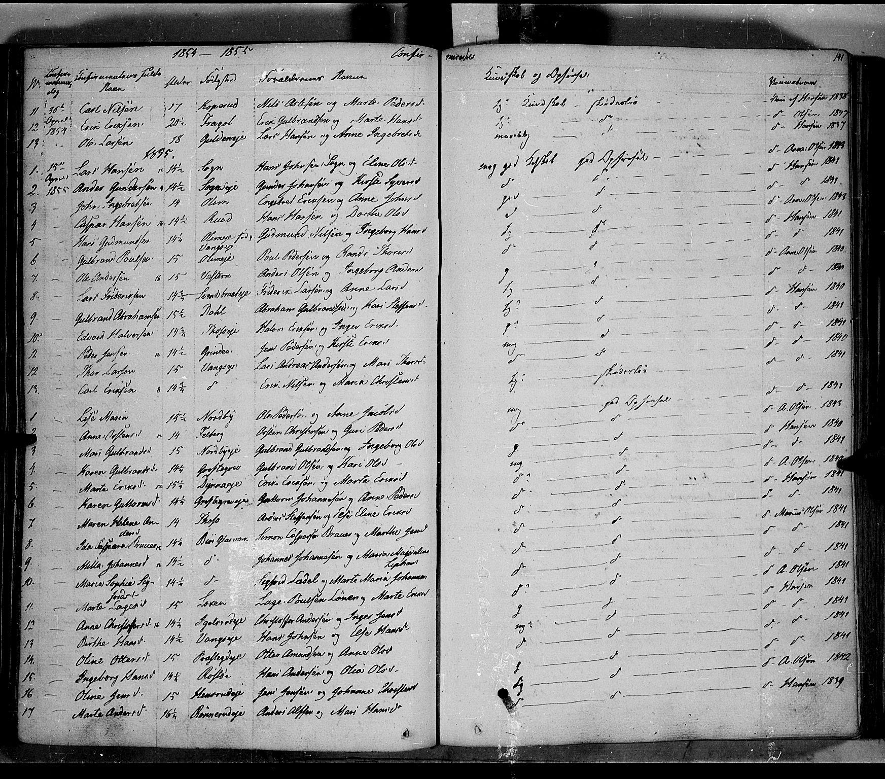SAH, Jevnaker prestekontor, Ministerialbok nr. 6, 1837-1857, s. 141