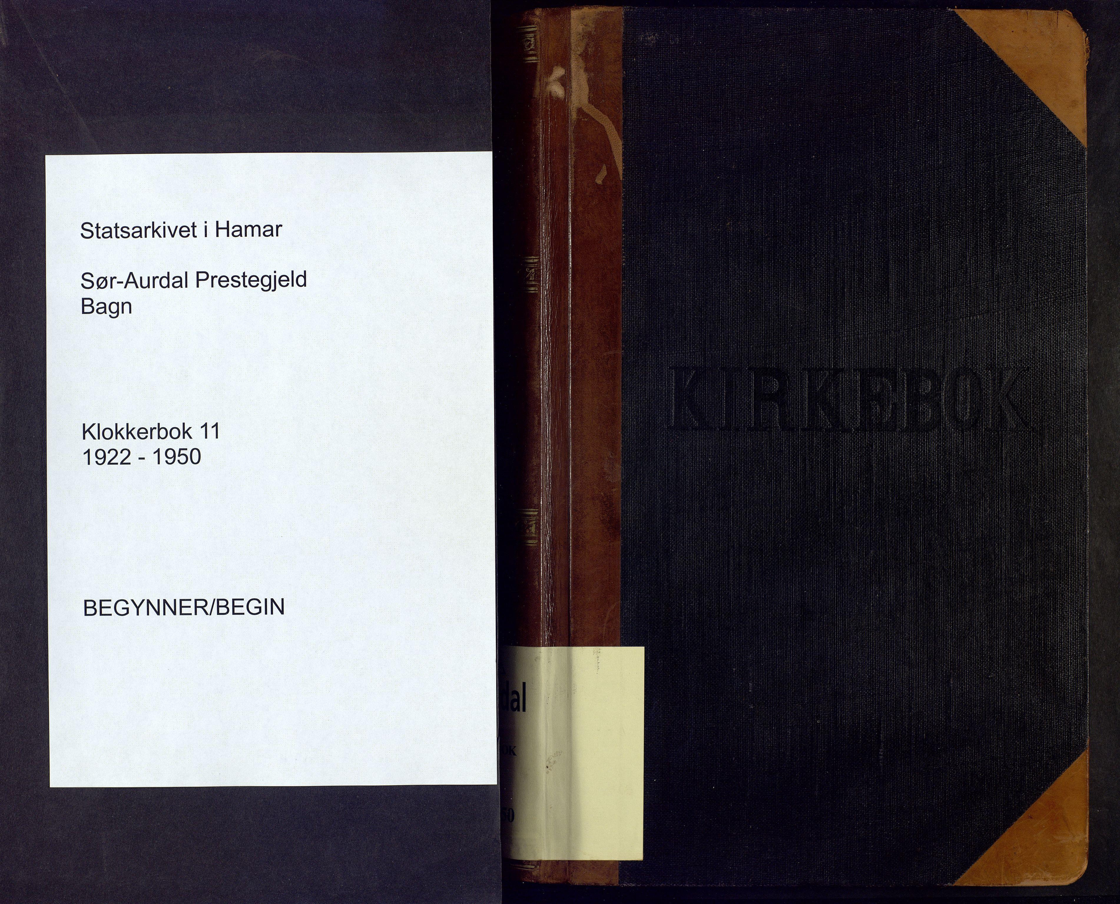 SAH, Sør-Aurdal prestekontor, Klokkerbok nr. 11, 1922-1950