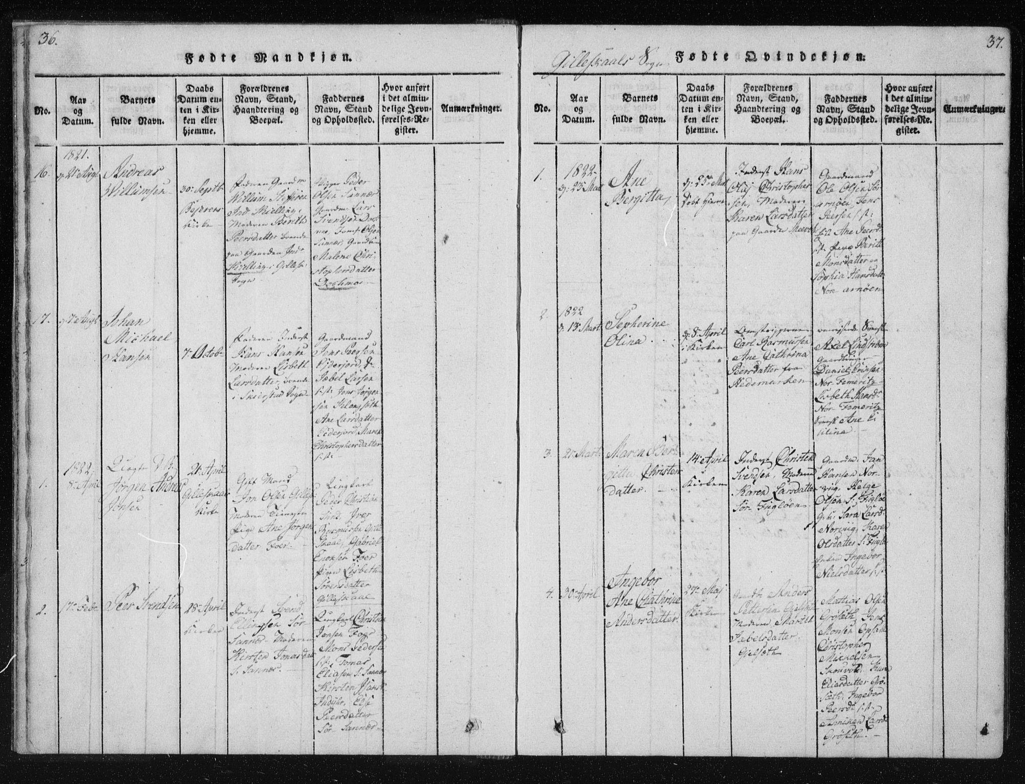 SAT, Ministerialprotokoller, klokkerbøker og fødselsregistre - Nordland, 805/L0096: Ministerialbok nr. 805A03, 1820-1837, s. 36-37