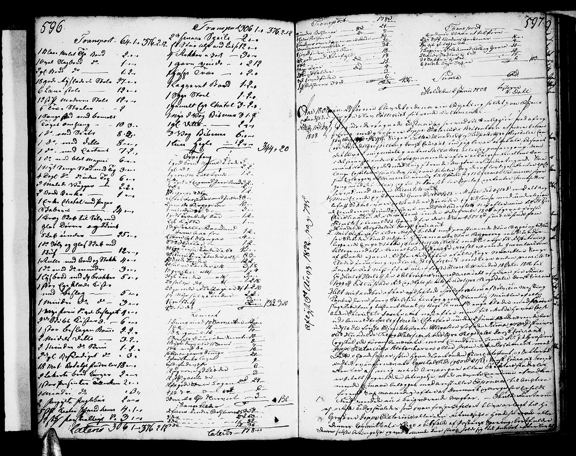 SAT, Molde byfogd, 2/2C/L0001: Pantebok nr. 1, 1748-1823, s. 596-597