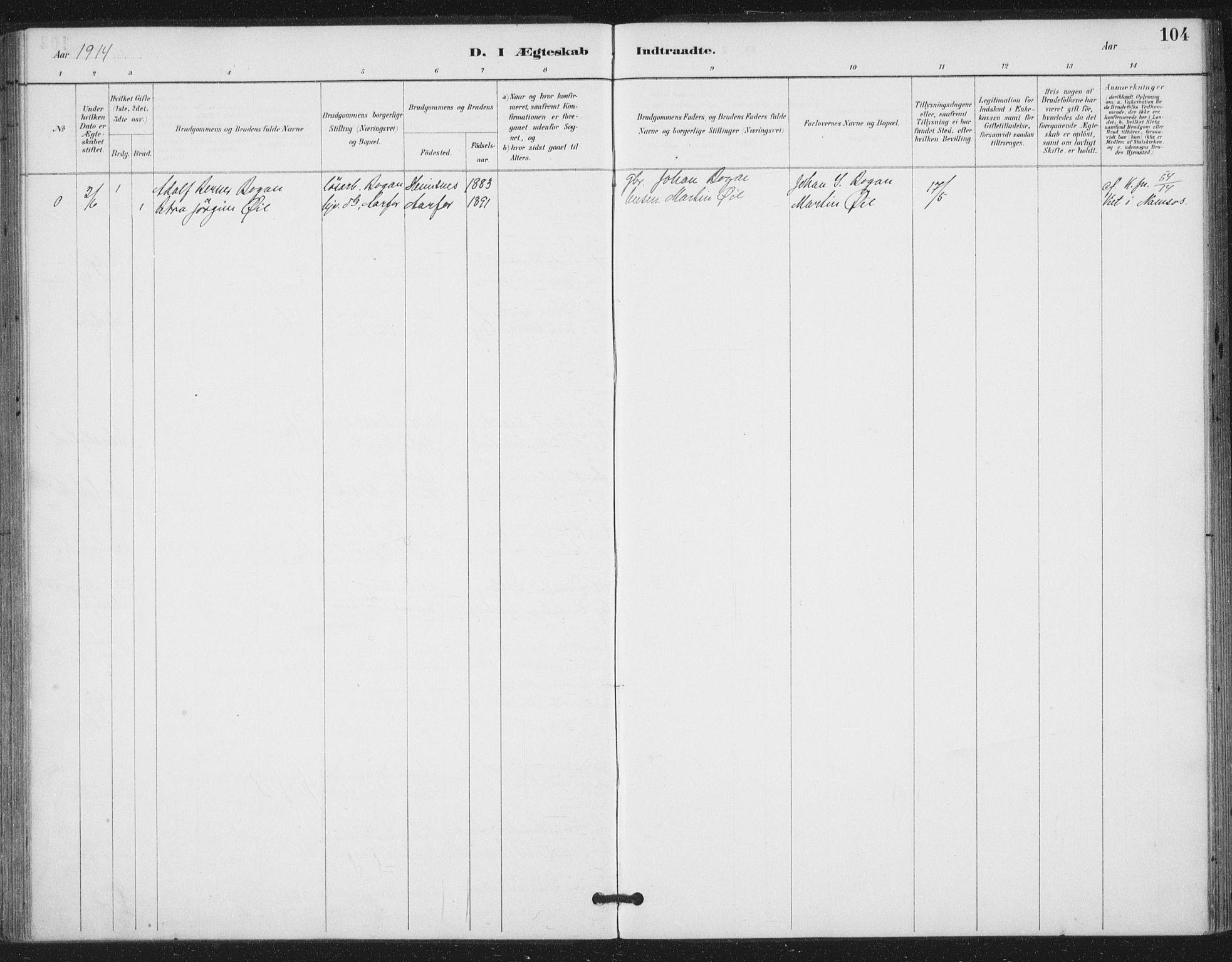 SAT, Ministerialprotokoller, klokkerbøker og fødselsregistre - Nord-Trøndelag, 783/L0660: Ministerialbok nr. 783A02, 1886-1918, s. 104