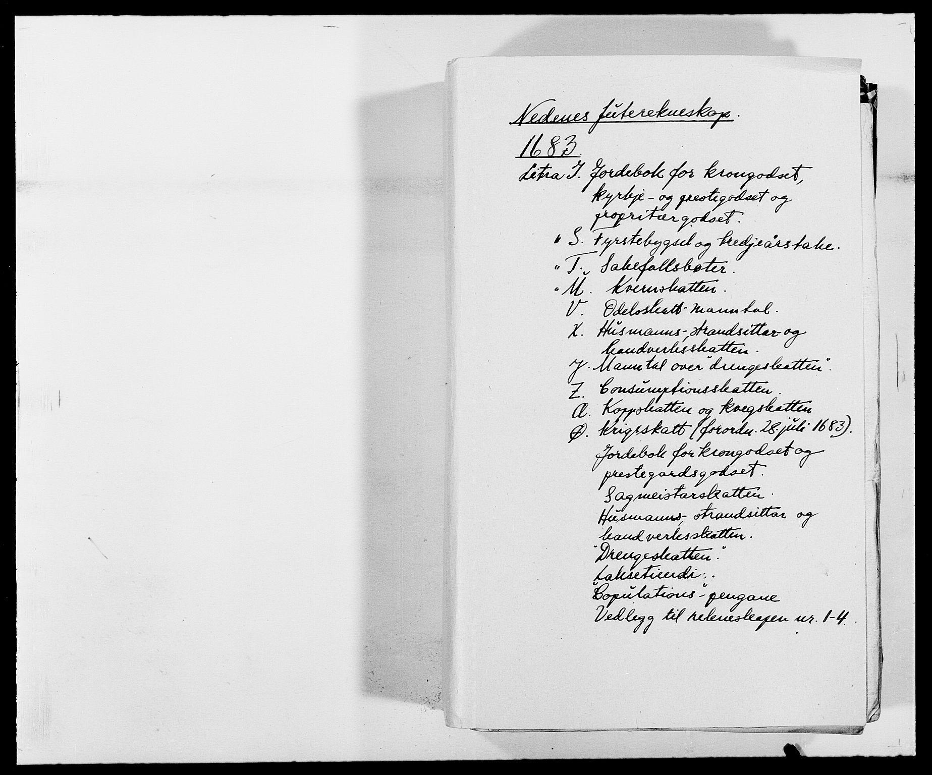 RA, Rentekammeret inntil 1814, Reviderte regnskaper, Fogderegnskap, R39/L2305: Fogderegnskap Nedenes, 1683, s. 1