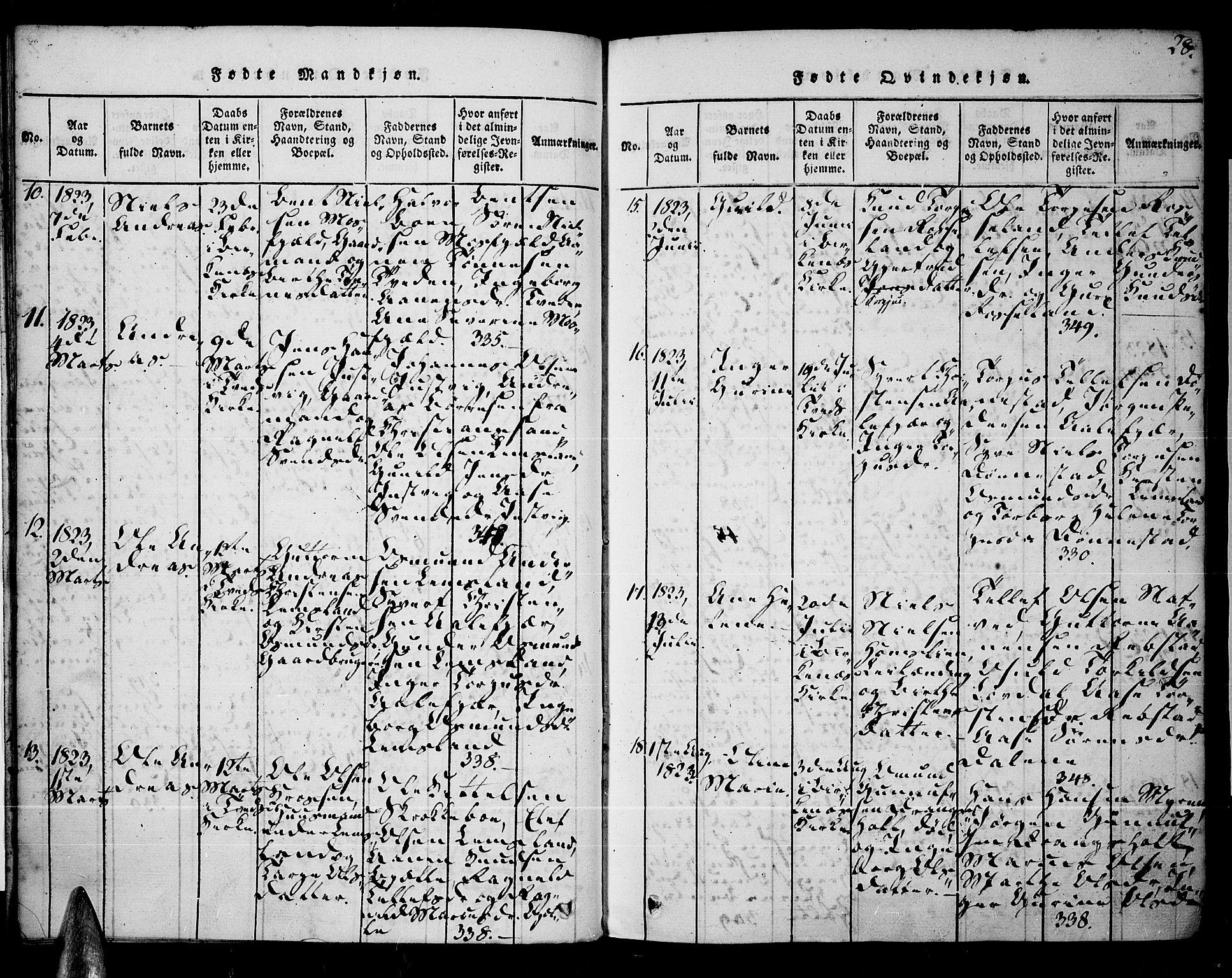SAK, Tveit sokneprestkontor, F/Fa/L0002: Ministerialbok nr. A 2, 1820-1830, s. 28