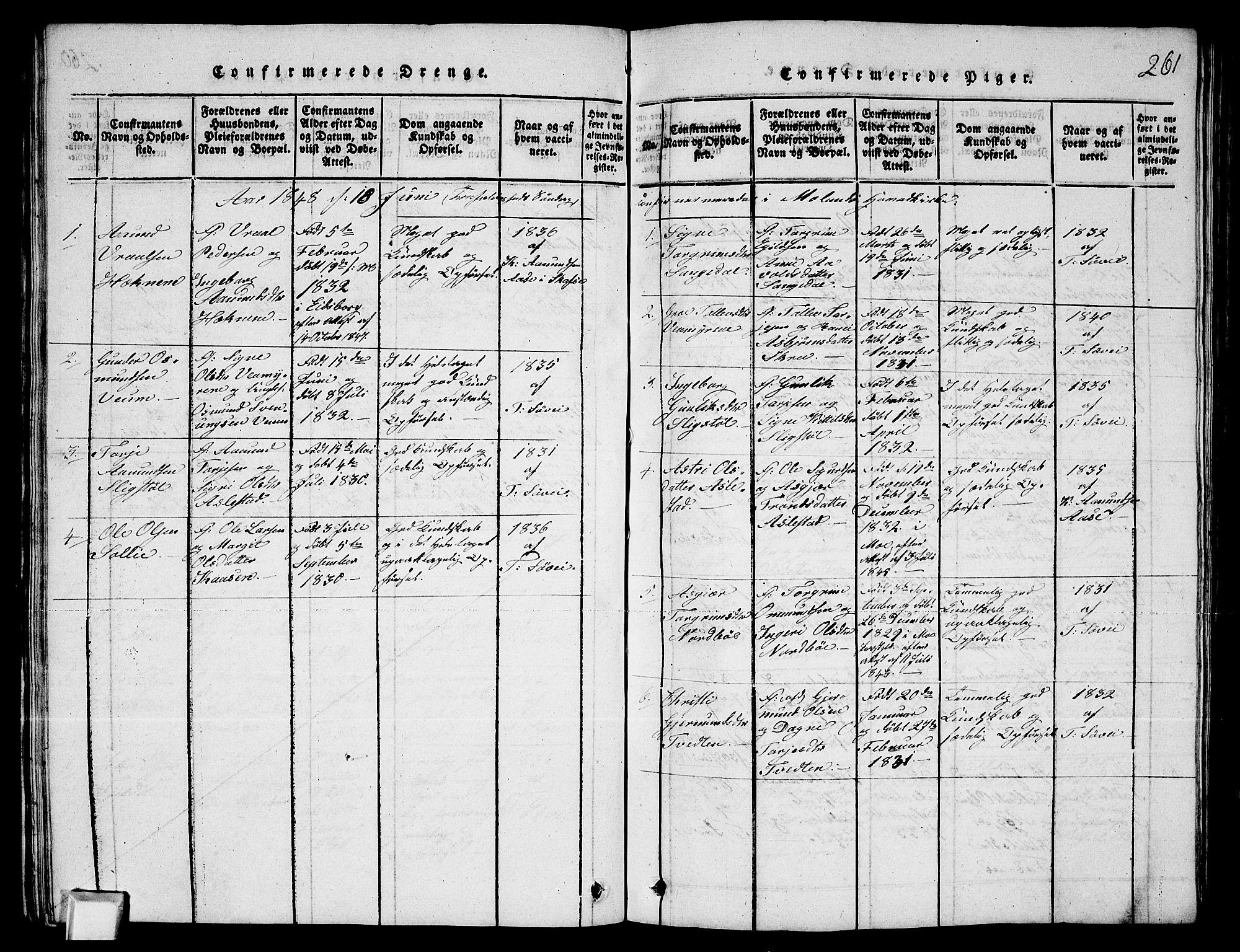 SAKO, Fyresdal kirkebøker, G/Ga/L0003: Klokkerbok nr. I 3, 1815-1863, s. 261