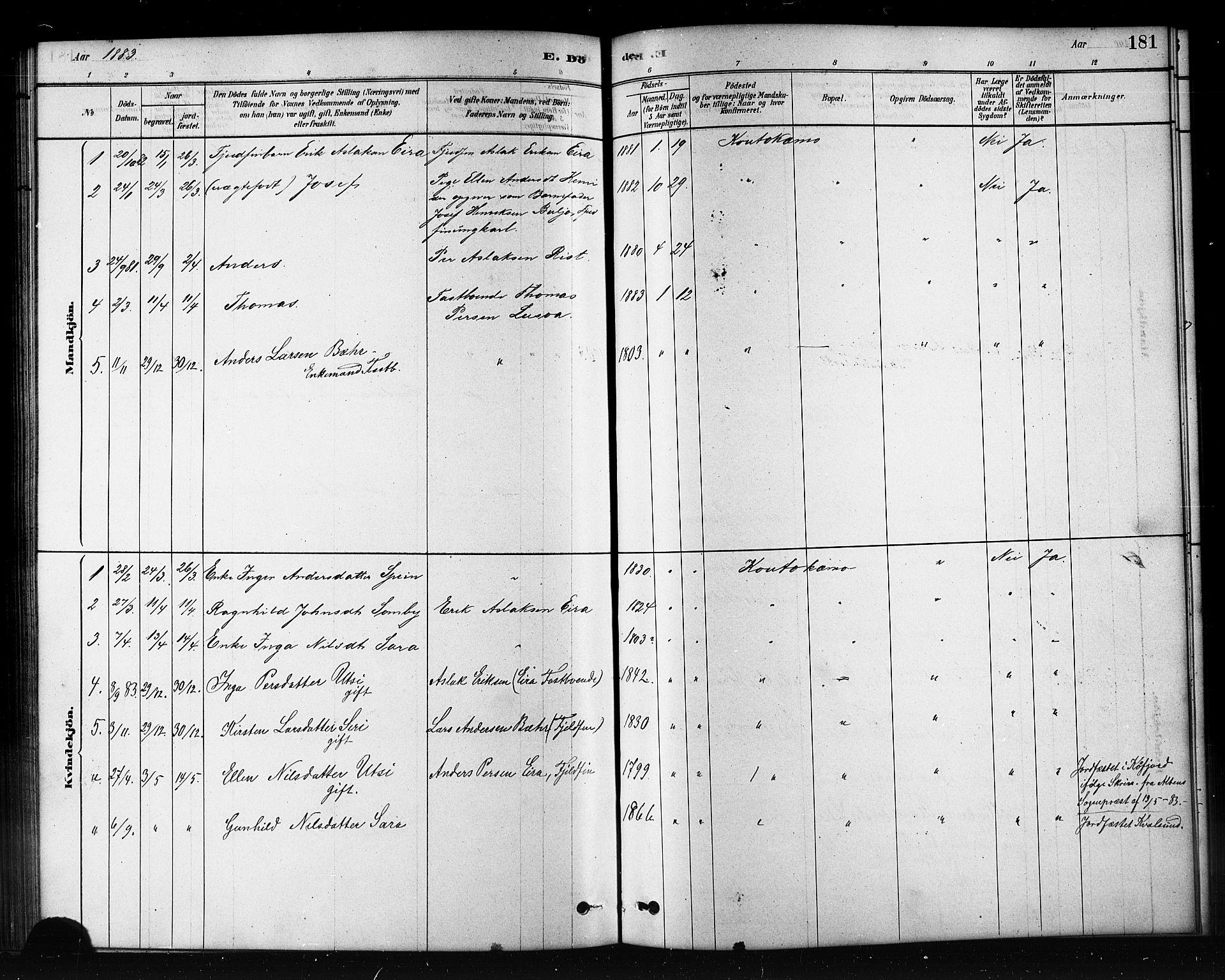 SATØ, Kautokeino sokneprestembete, Klokkerbok nr. 2, 1877-1896, s. 181