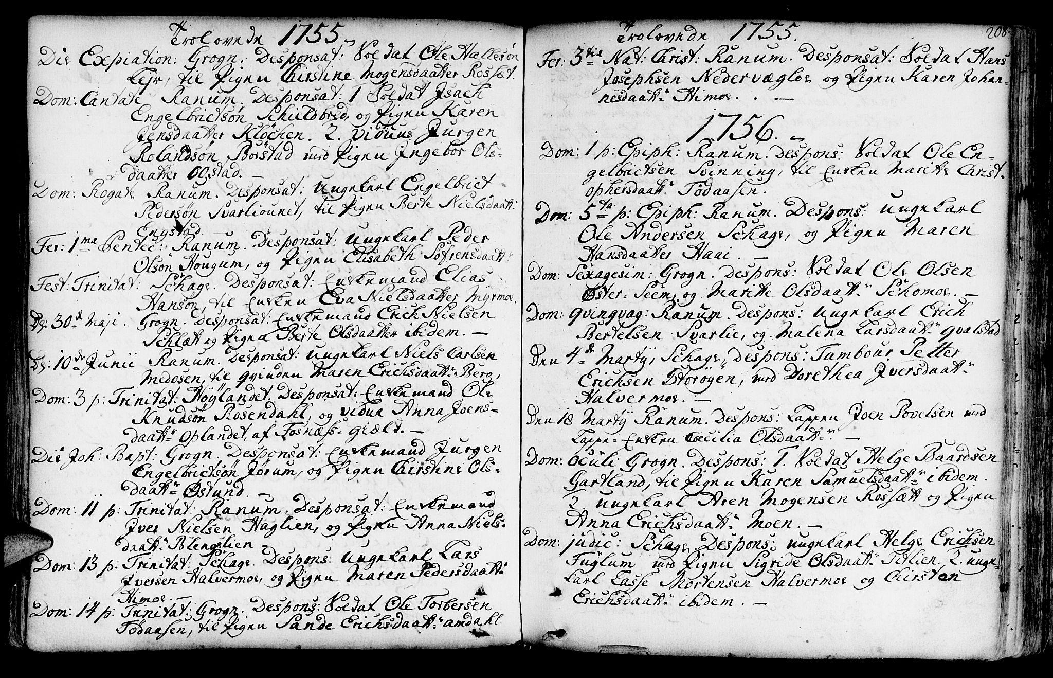 SAT, Ministerialprotokoller, klokkerbøker og fødselsregistre - Nord-Trøndelag, 764/L0542: Ministerialbok nr. 764A02, 1748-1779, s. 208