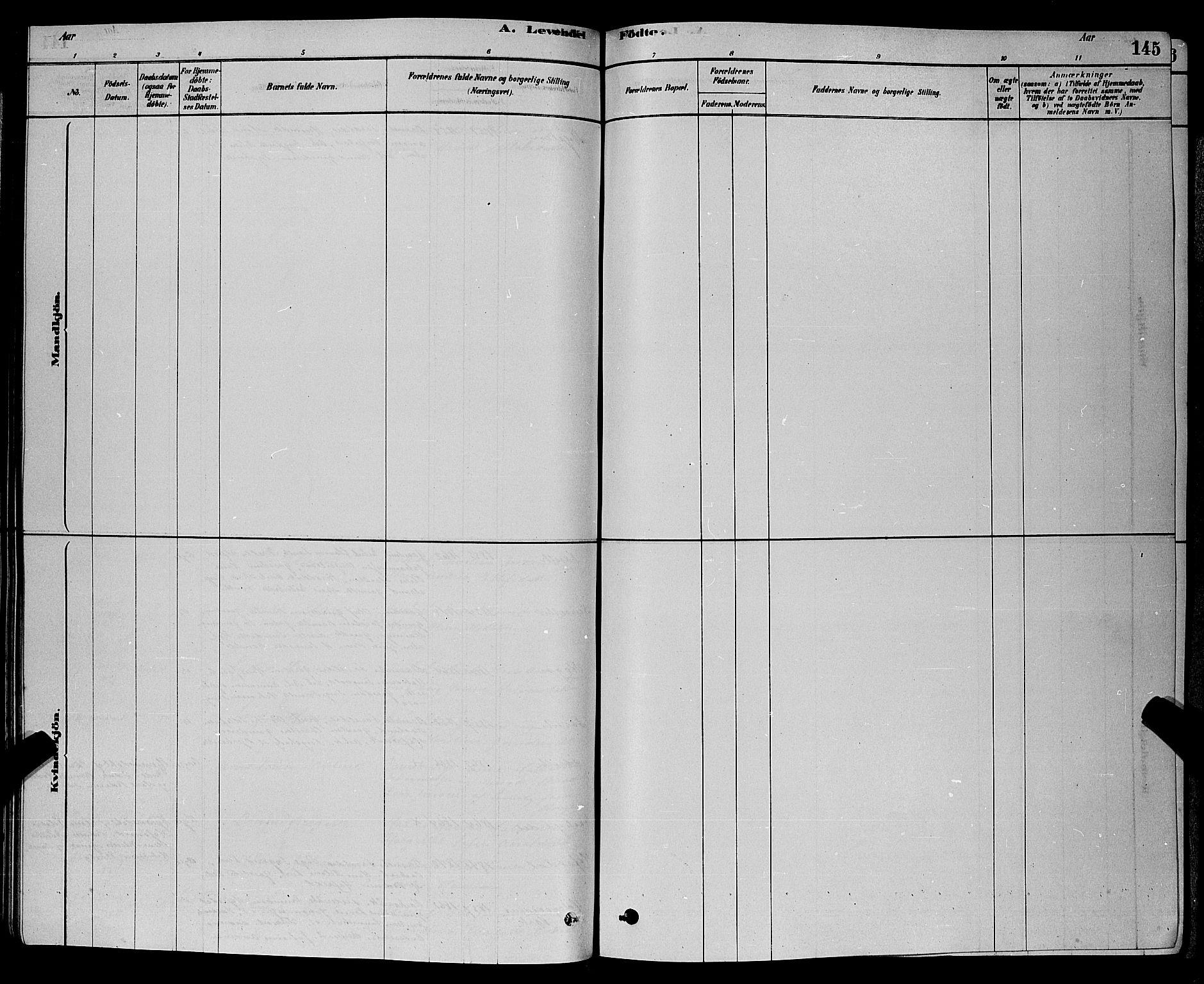 SAKO, Bamble kirkebøker, G/Ga/L0008: Klokkerbok nr. I 8, 1878-1888, s. 145