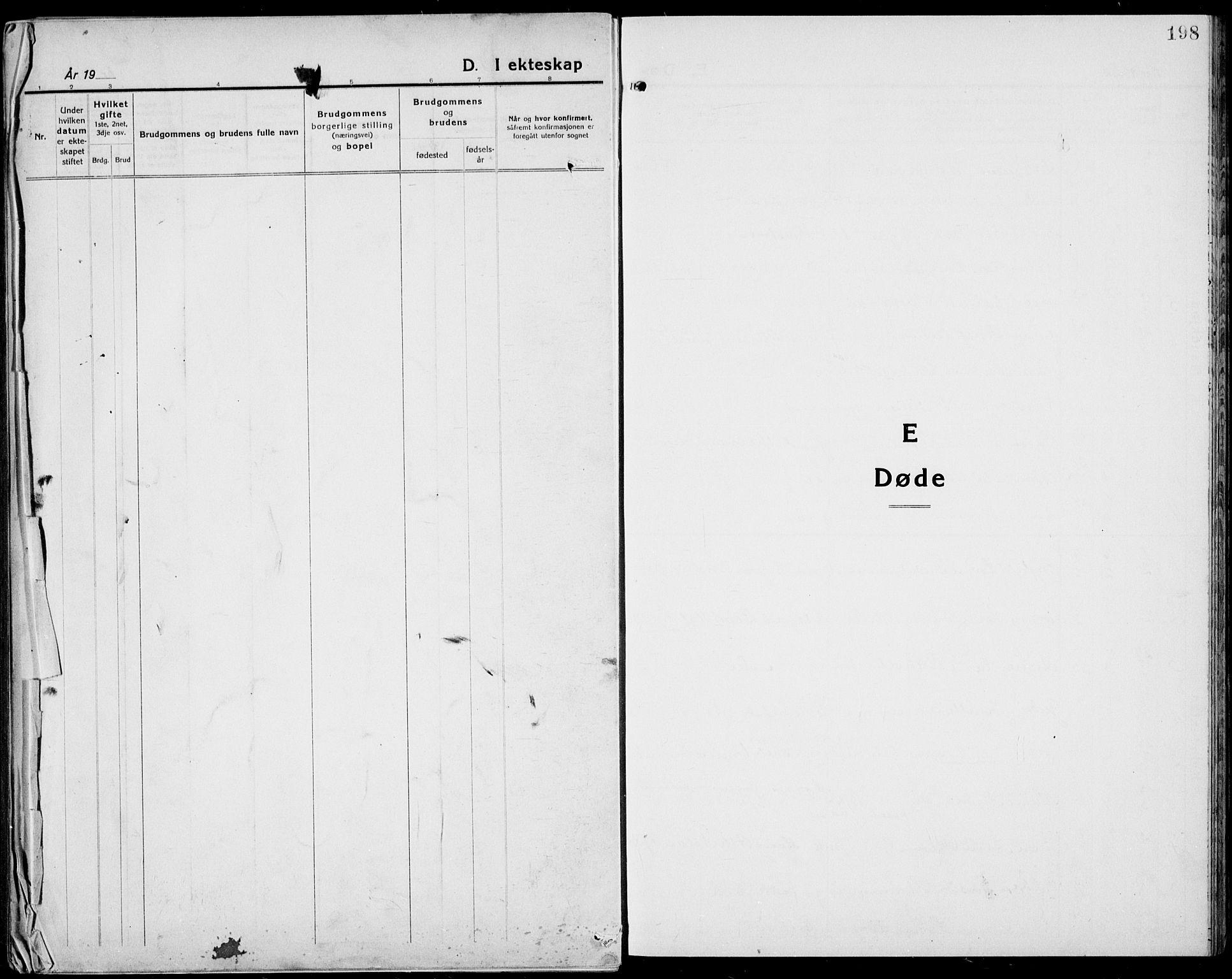SAKO, Bamble kirkebøker, G/Ga/L0011: Klokkerbok nr. I 11, 1920-1935, s. 198