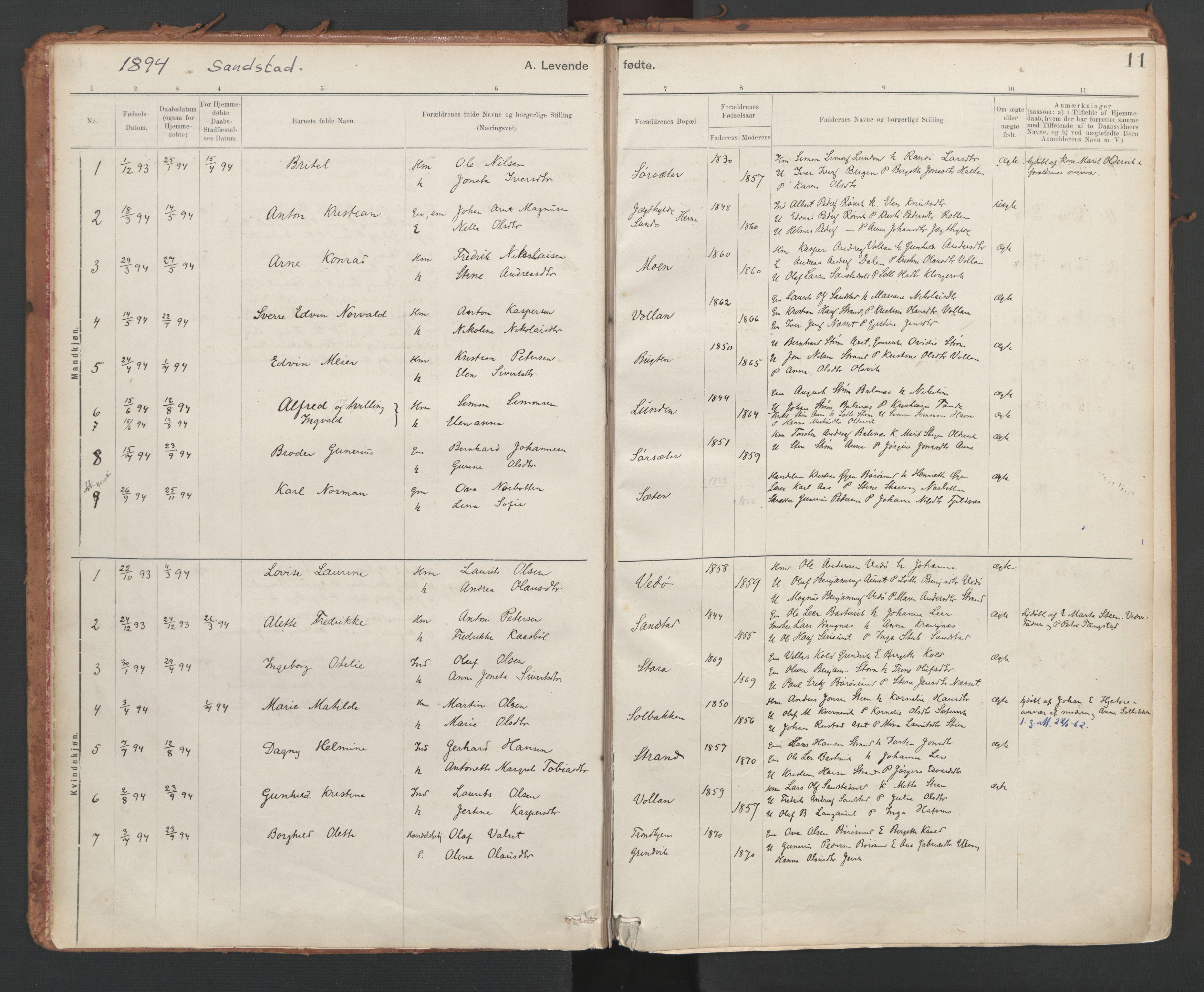 SAT, Ministerialprotokoller, klokkerbøker og fødselsregistre - Sør-Trøndelag, 639/L0572: Ministerialbok nr. 639A01, 1890-1920, s. 11