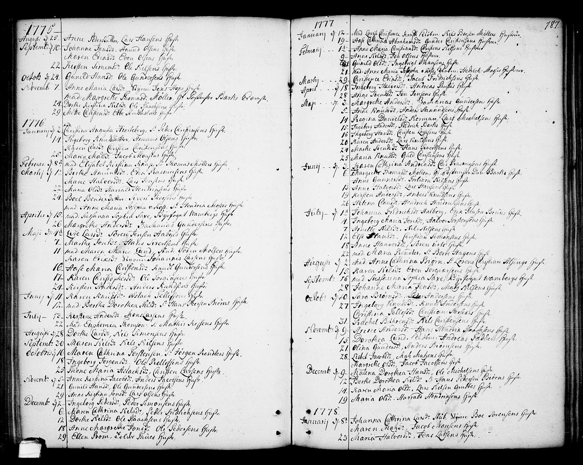 SAKO, Kragerø kirkebøker, F/Fa/L0002: Ministerialbok nr. 2, 1767-1802, s. 187
