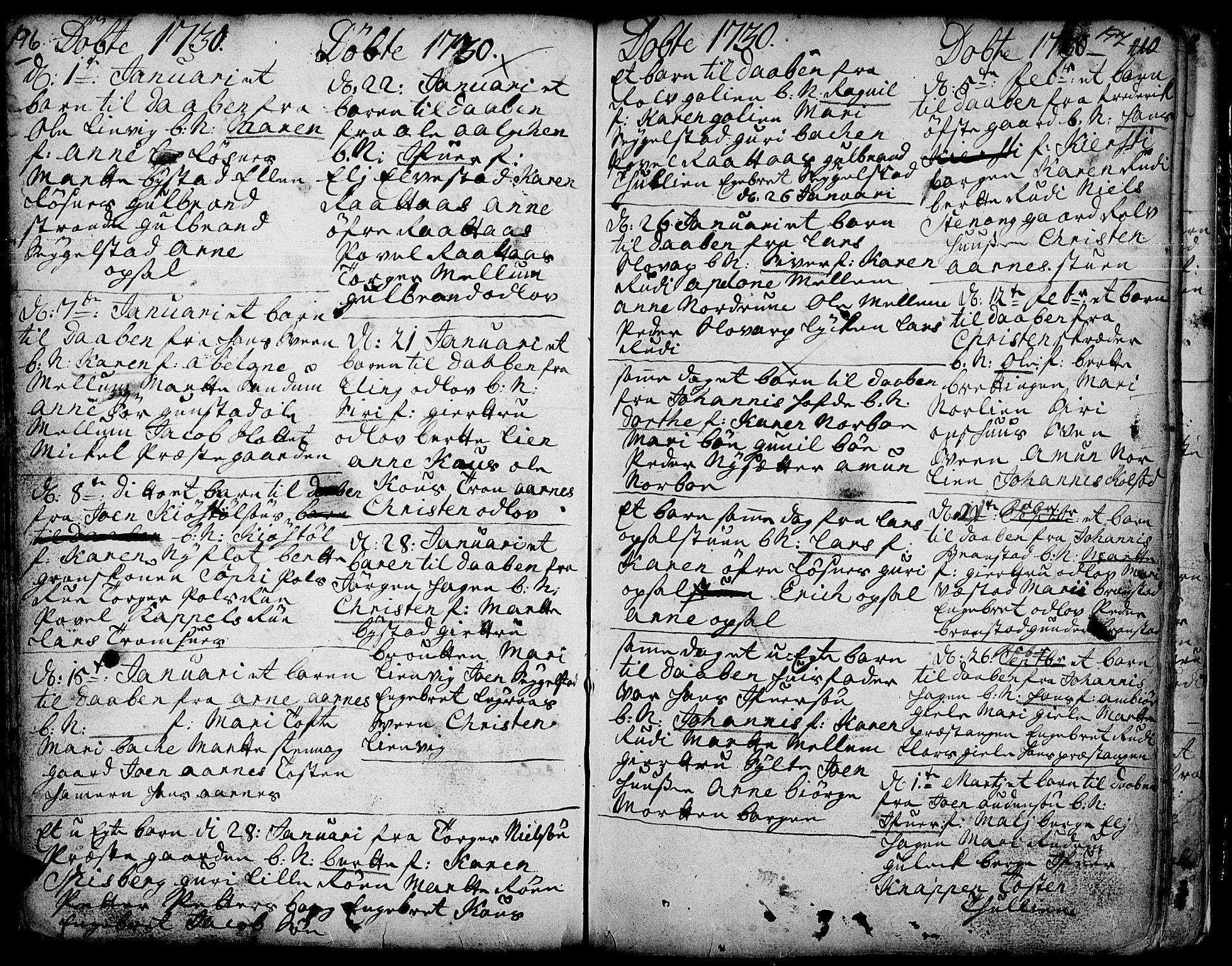 SAH, Ringebu prestekontor, Ministerialbok nr. 1, 1696-1733, s. 196-197