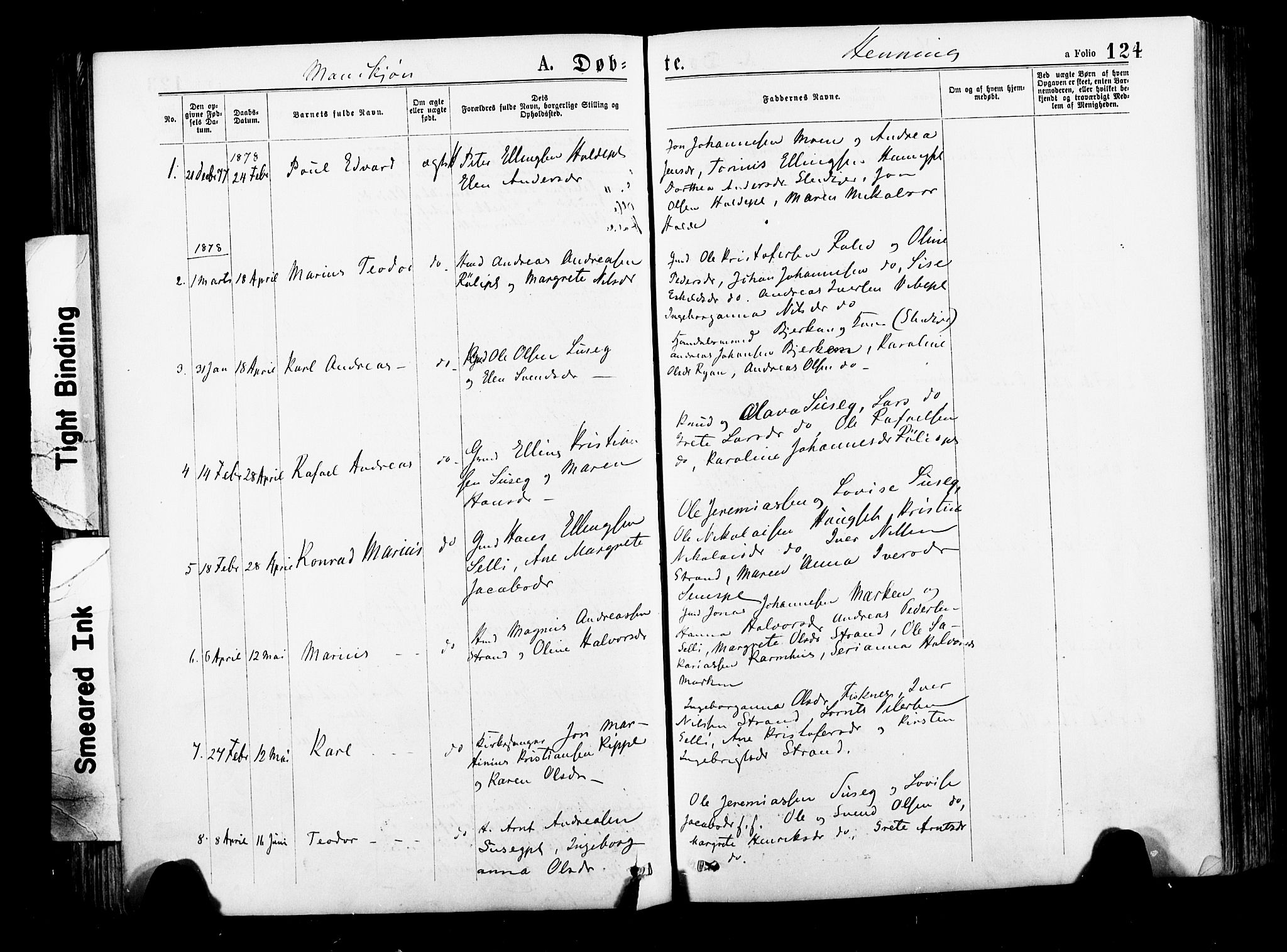 SAT, Ministerialprotokoller, klokkerbøker og fødselsregistre - Nord-Trøndelag, 735/L0348: Ministerialbok nr. 735A09 /3, 1873-1883, s. 124