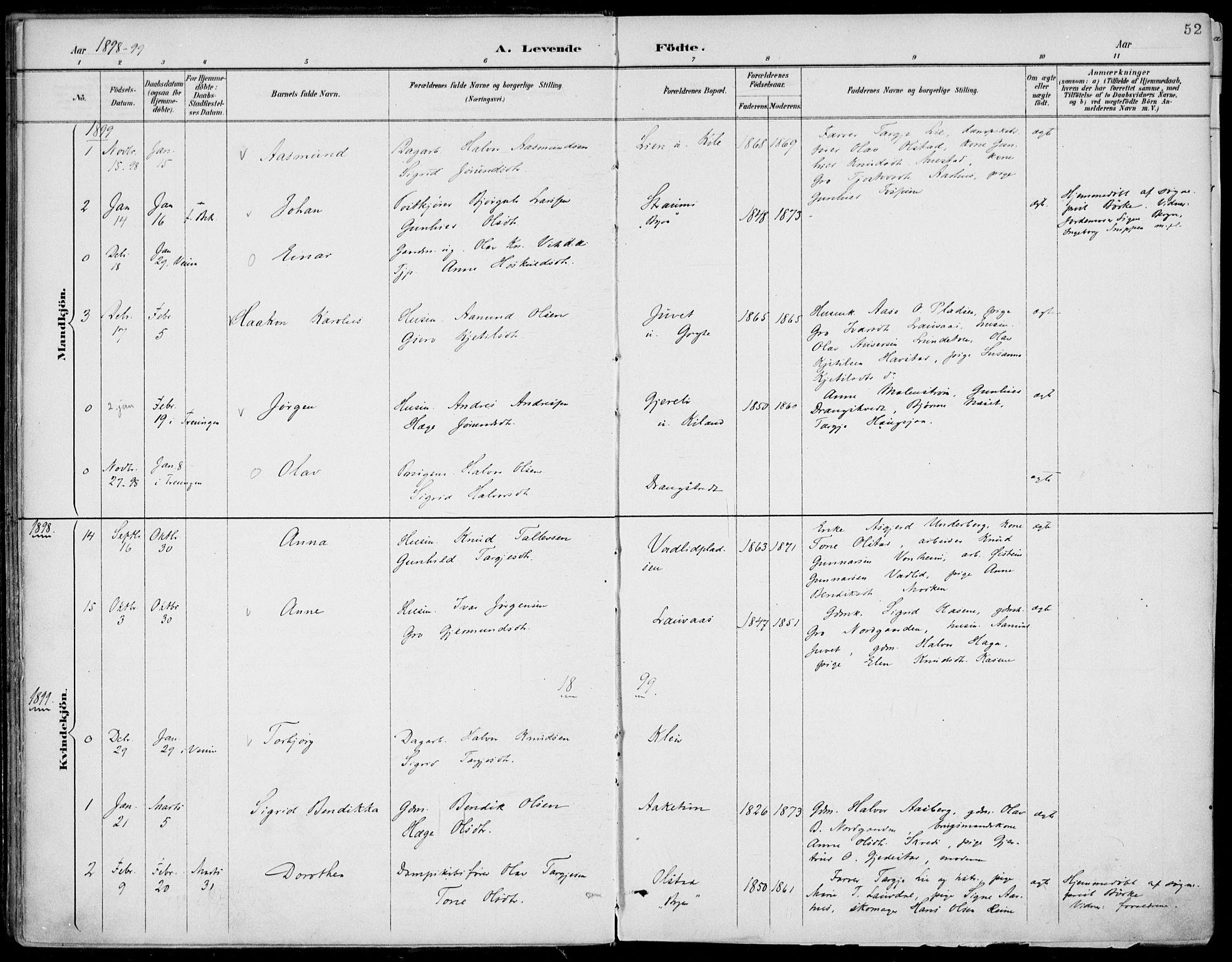 SAKO, Fyresdal kirkebøker, F/Fa/L0007: Ministerialbok nr. I 7, 1887-1914, s. 52