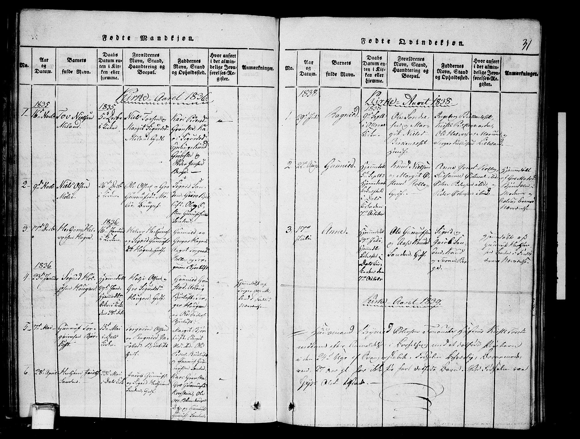 SAKO, Tinn kirkebøker, G/Gb/L0001: Klokkerbok nr. II 1 /1, 1815-1850, s. 31