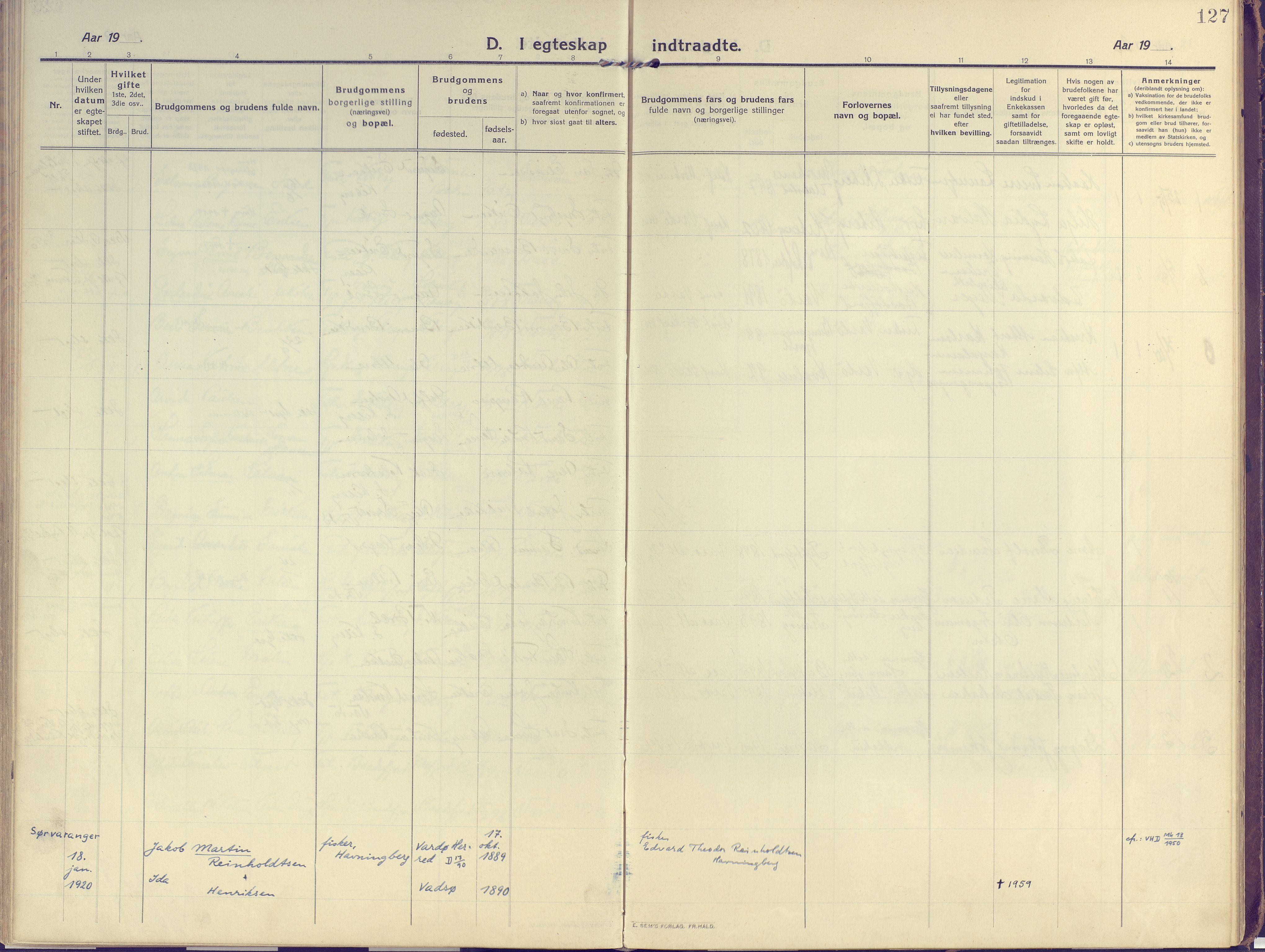 SATØ, Vardø sokneprestkontor, H/Ha/L0013kirke: Ministerialbok nr. 13, 1912-1928, s. 127