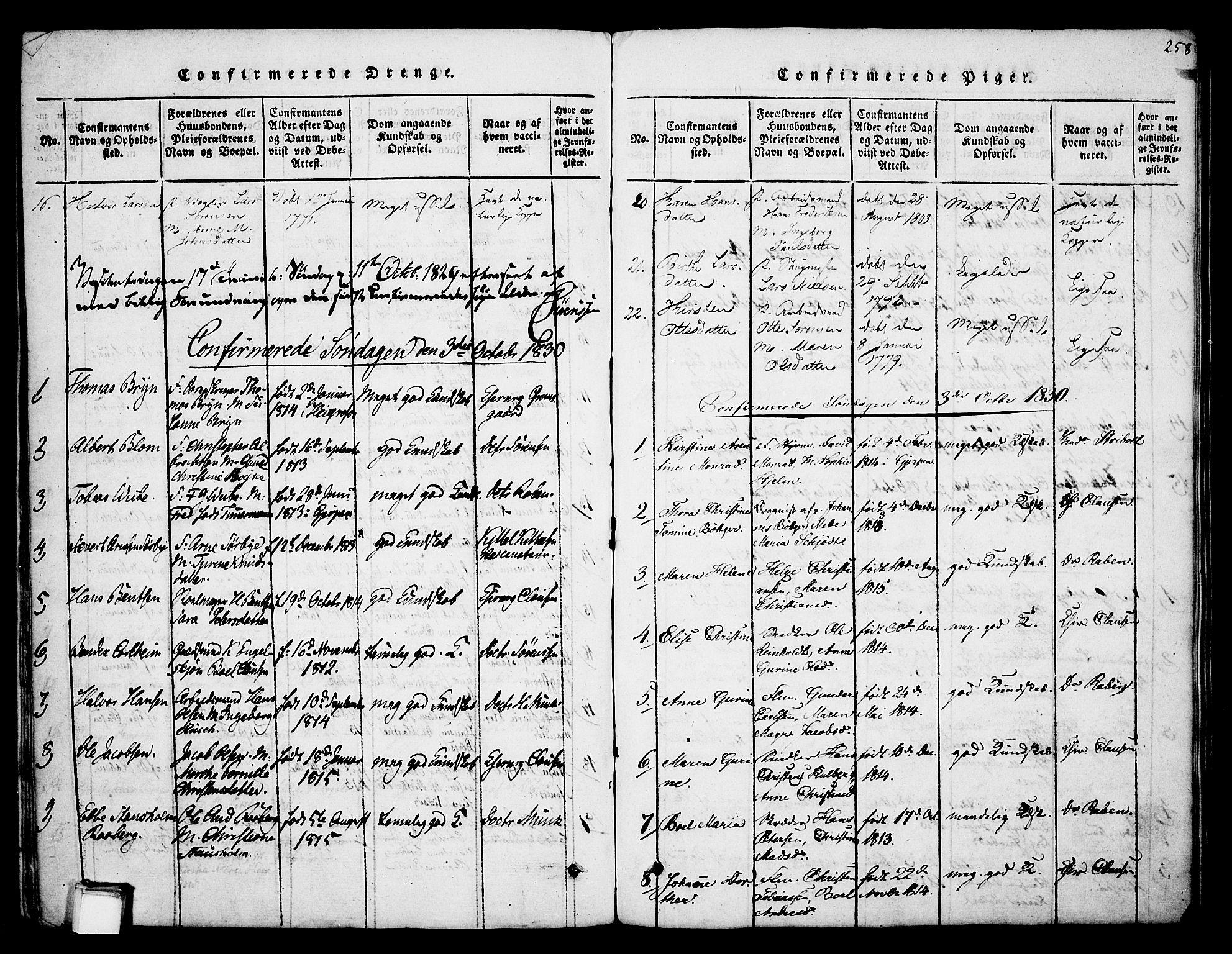 SAKO, Skien kirkebøker, F/Fa/L0005: Ministerialbok nr. 5, 1814-1843, s. 258