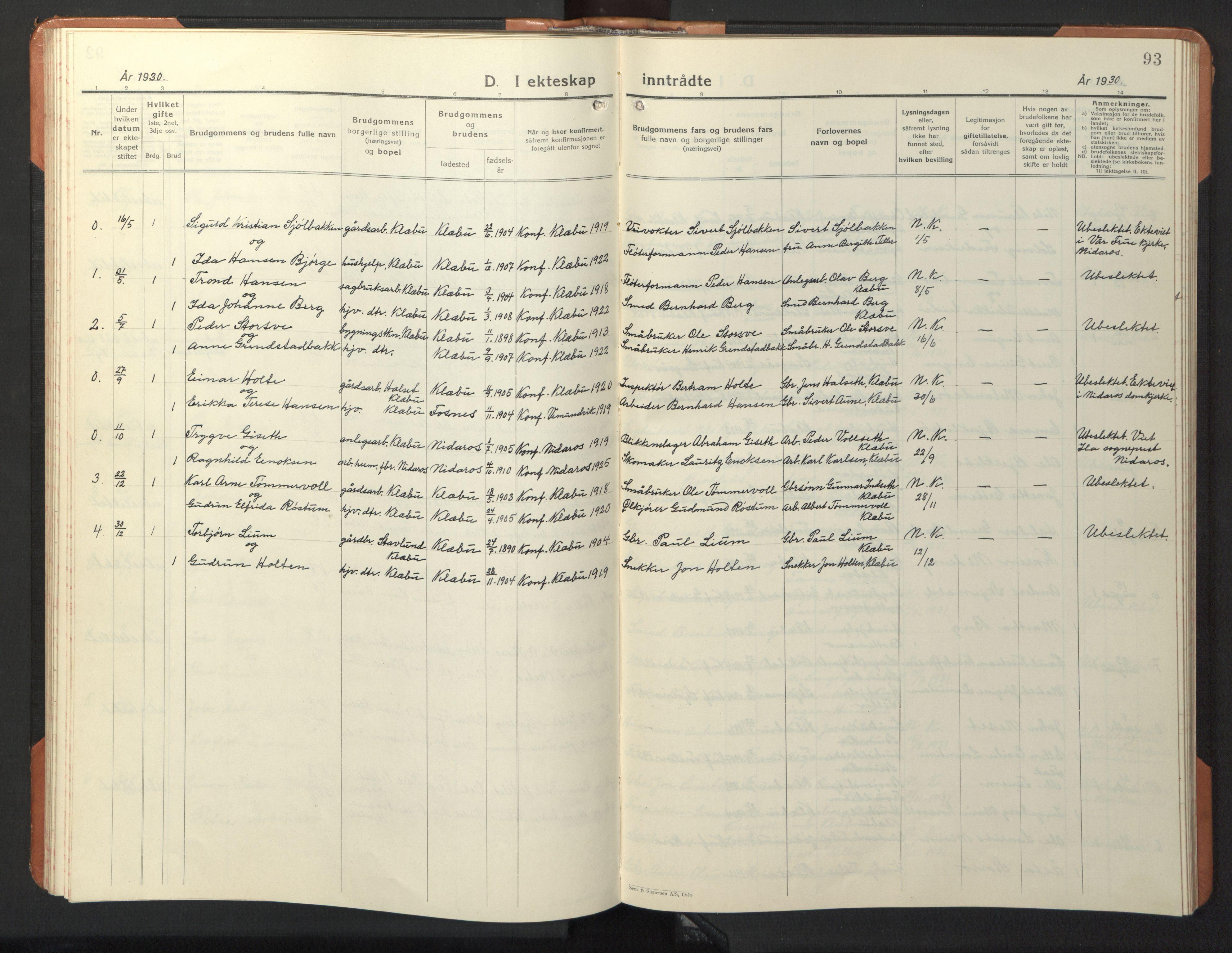 SAT, Ministerialprotokoller, klokkerbøker og fødselsregistre - Sør-Trøndelag, 618/L0454: Klokkerbok nr. 618C05, 1926-1946, s. 93