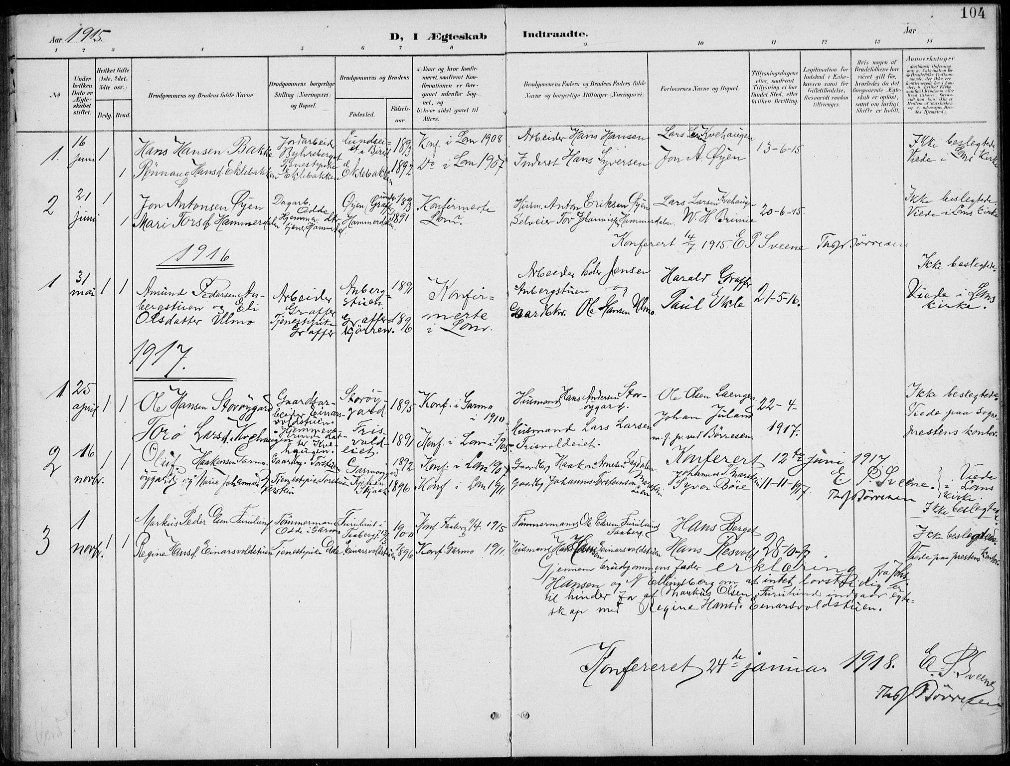 SAH, Lom prestekontor, L/L0006: Klokkerbok nr. 6, 1901-1939, s. 104