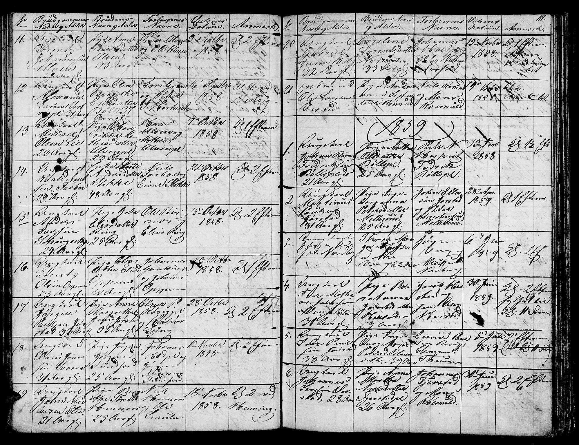 SAT, Ministerialprotokoller, klokkerbøker og fødselsregistre - Nord-Trøndelag, 730/L0299: Klokkerbok nr. 730C02, 1849-1871, s. 111