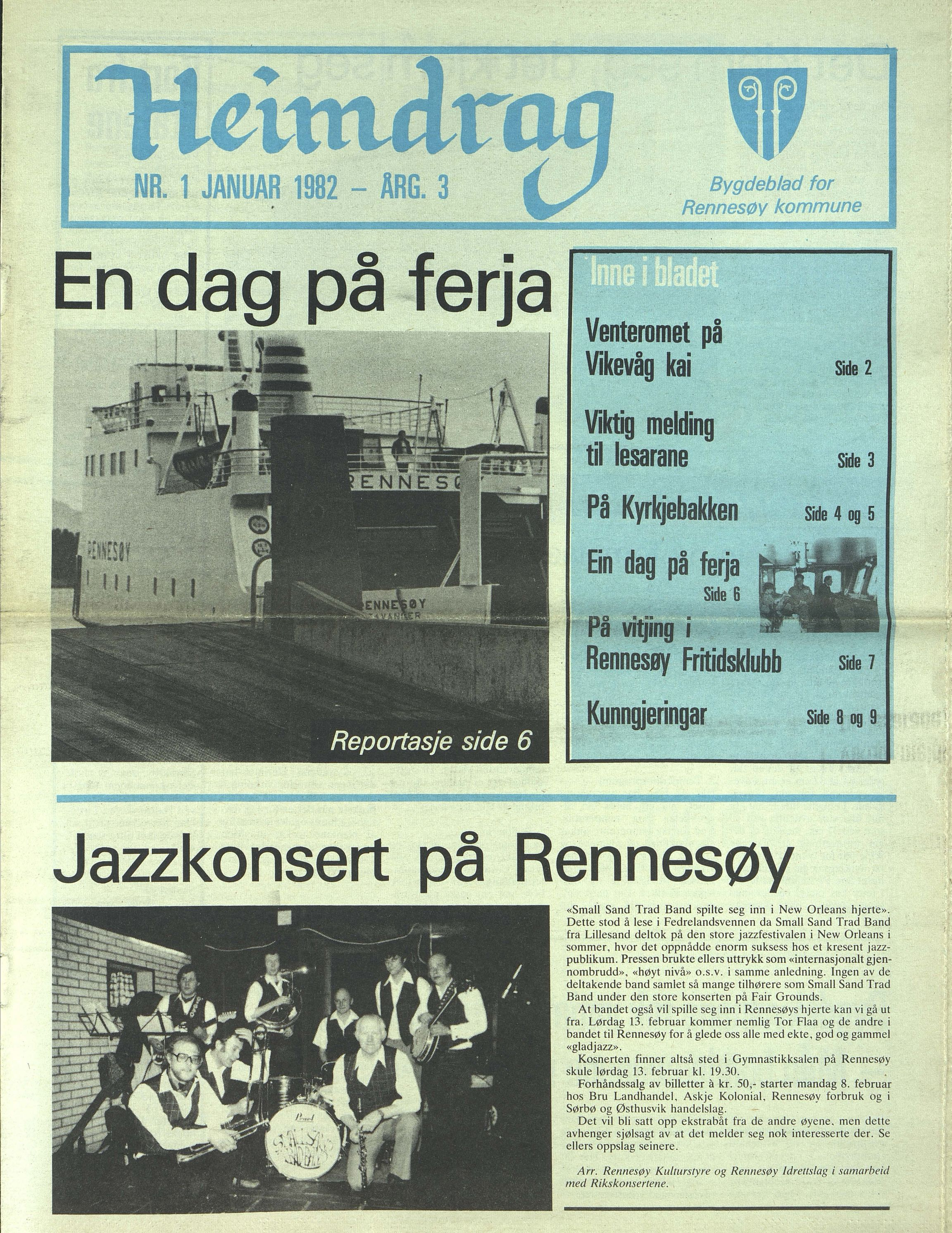 BYST, Rennesøy kommune. Heimdrag, lokalavis, X/Xa/L0004: Heimdrag 1982, 1982