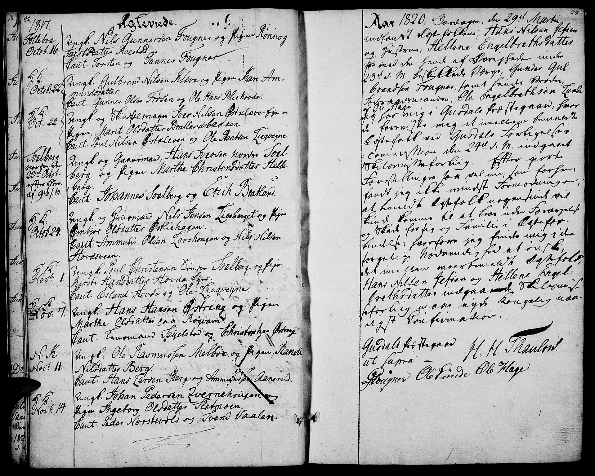 SAH, Gausdal prestekontor, Ministerialbok nr. 4, 1809-1817, s. 28-29