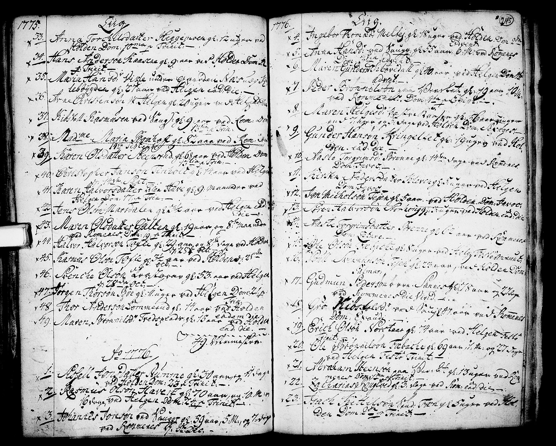 SAKO, Holla kirkebøker, F/Fa/L0001: Ministerialbok nr. 1, 1717-1779, s. 245