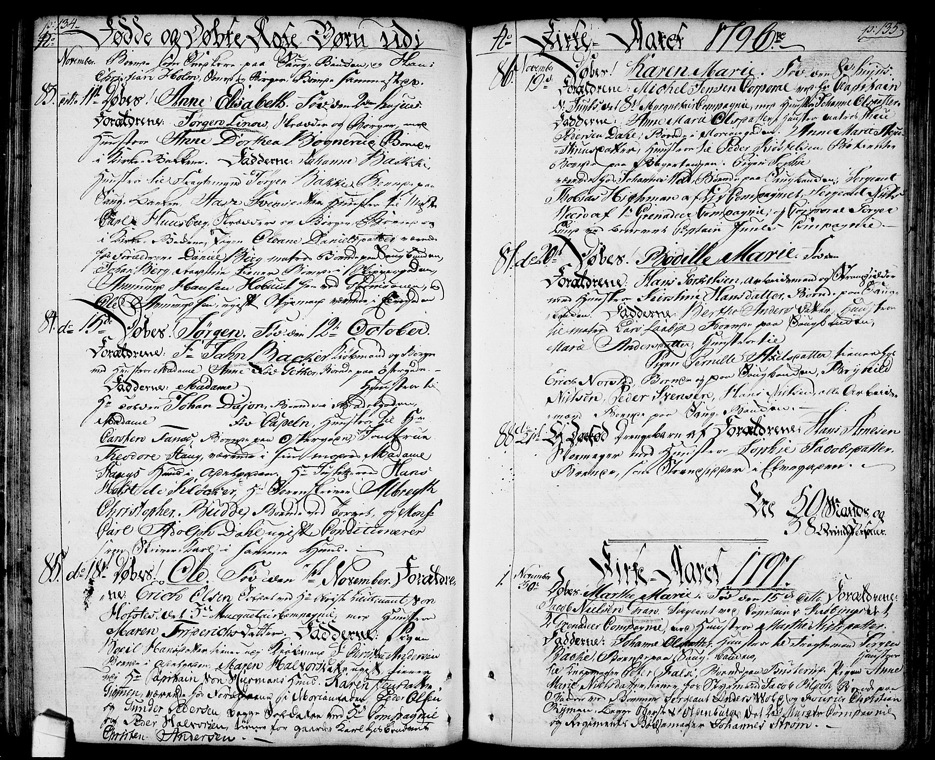 SAO, Halden prestekontor Kirkebøker, F/Fa/L0002: Ministerialbok nr. I 2, 1792-1812, s. 134-135