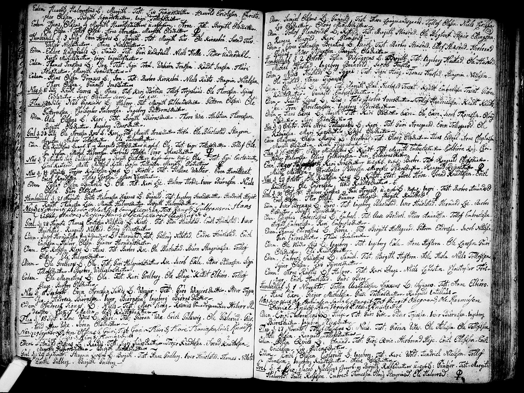 SAKO, Nes kirkebøker, F/Fa/L0002: Ministerialbok nr. 2, 1707-1759, s. 128