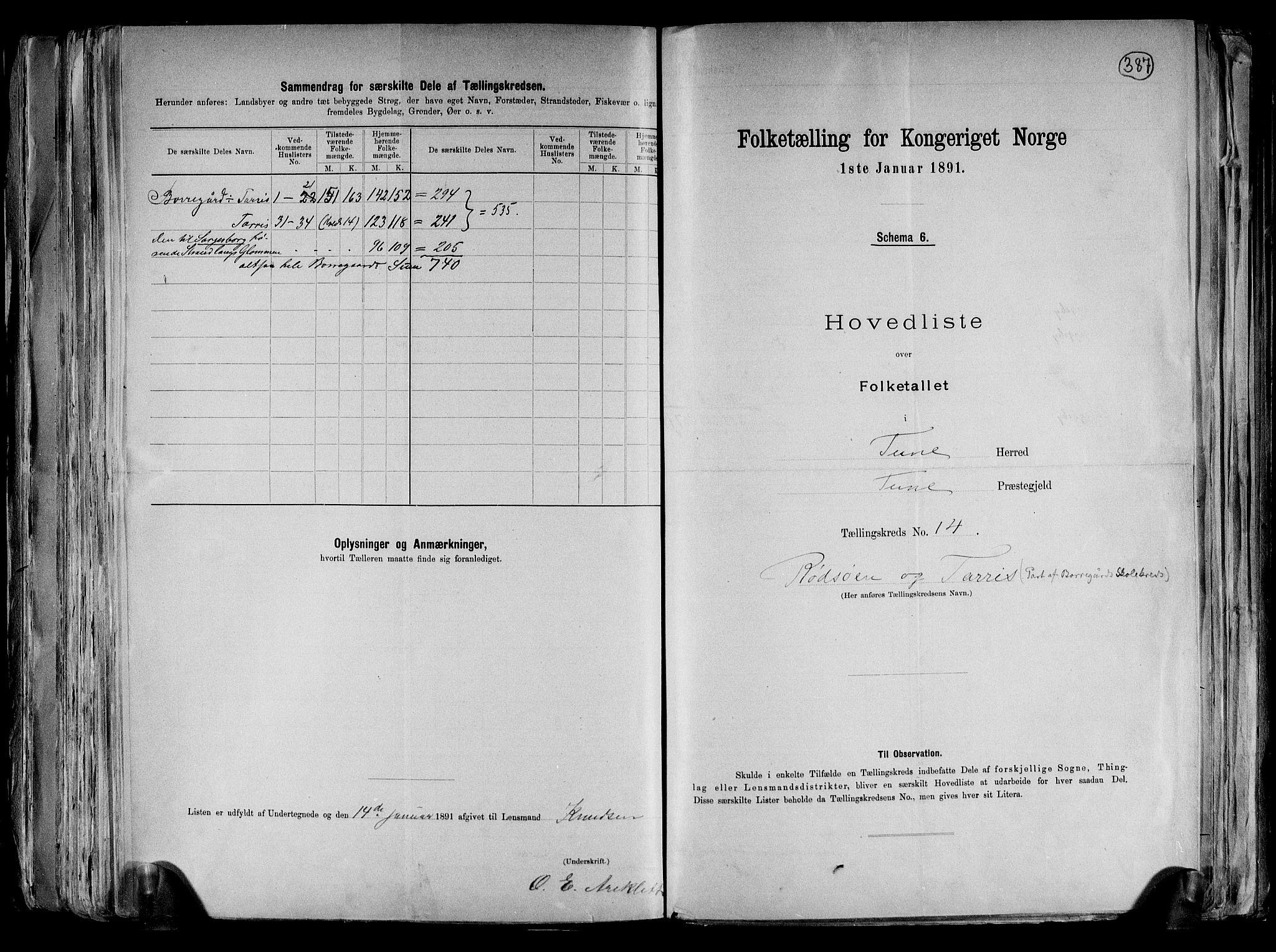 RA, Folketelling 1891 for 0130 Tune herred, 1891, s. 47