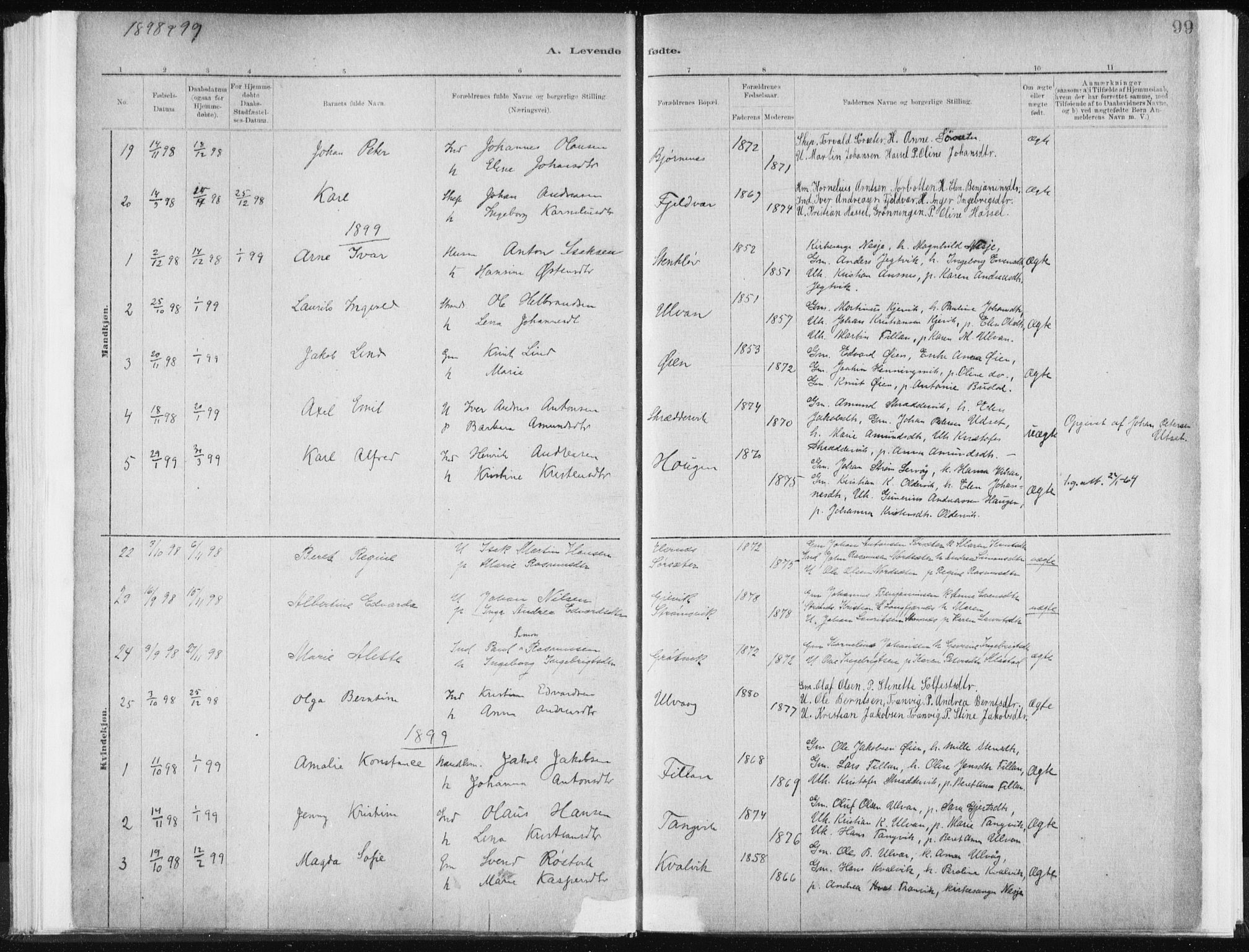 SAT, Ministerialprotokoller, klokkerbøker og fødselsregistre - Sør-Trøndelag, 637/L0558: Ministerialbok nr. 637A01, 1882-1899, s. 99