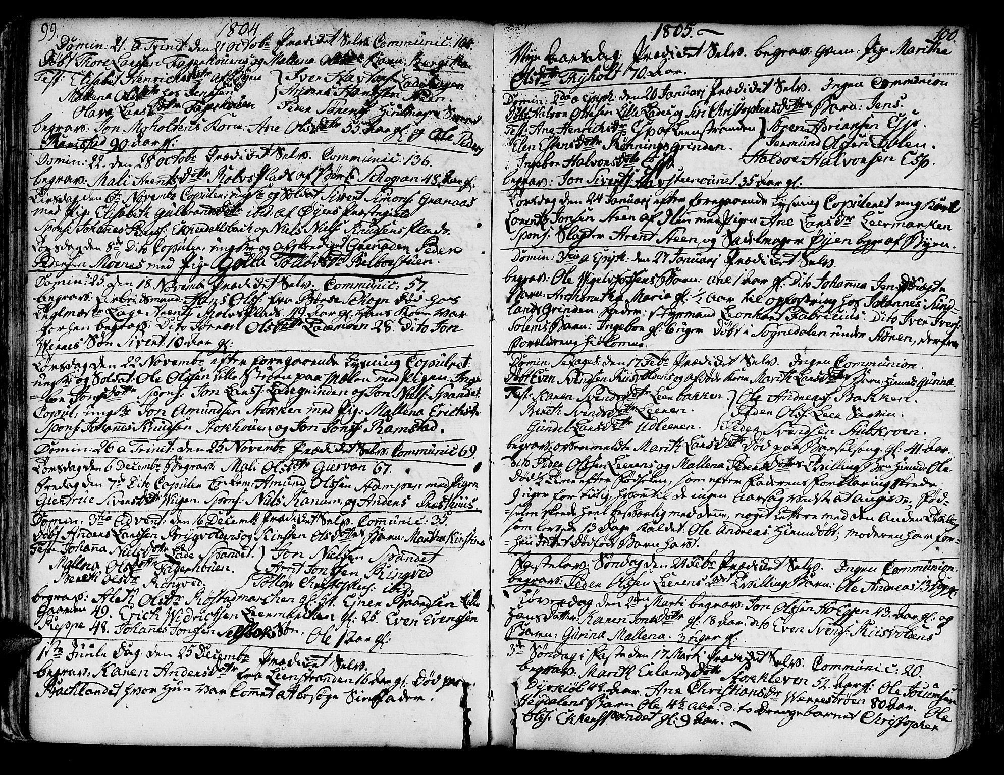 SAT, Ministerialprotokoller, klokkerbøker og fødselsregistre - Sør-Trøndelag, 606/L0280: Ministerialbok nr. 606A02 /1, 1781-1817, s. 99-100