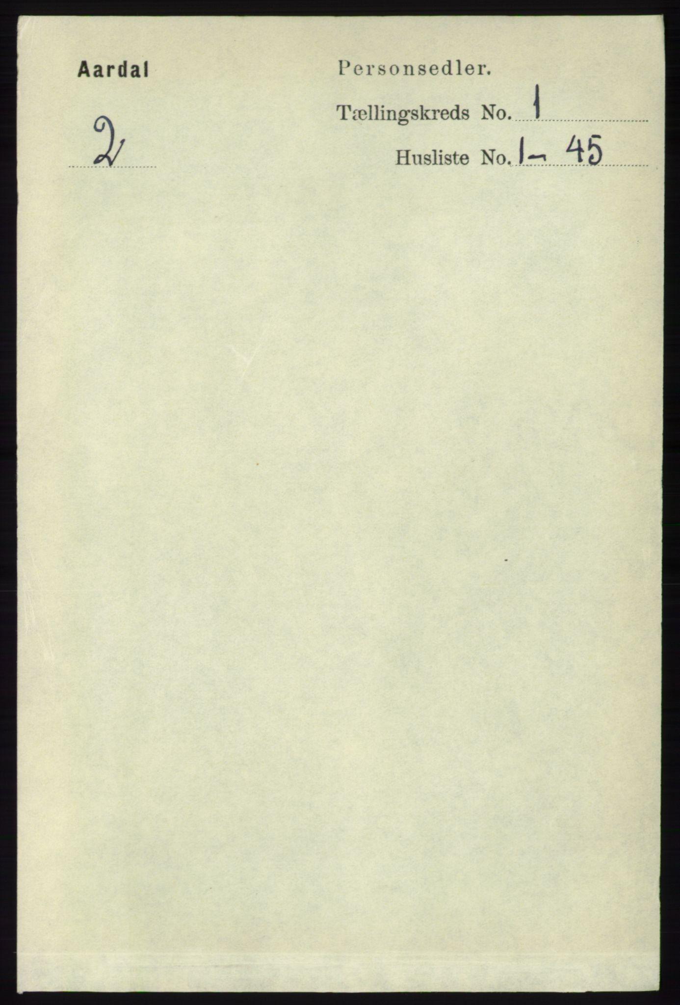 RA, Folketelling 1891 for 1131 Årdal herred, 1891, s. 104