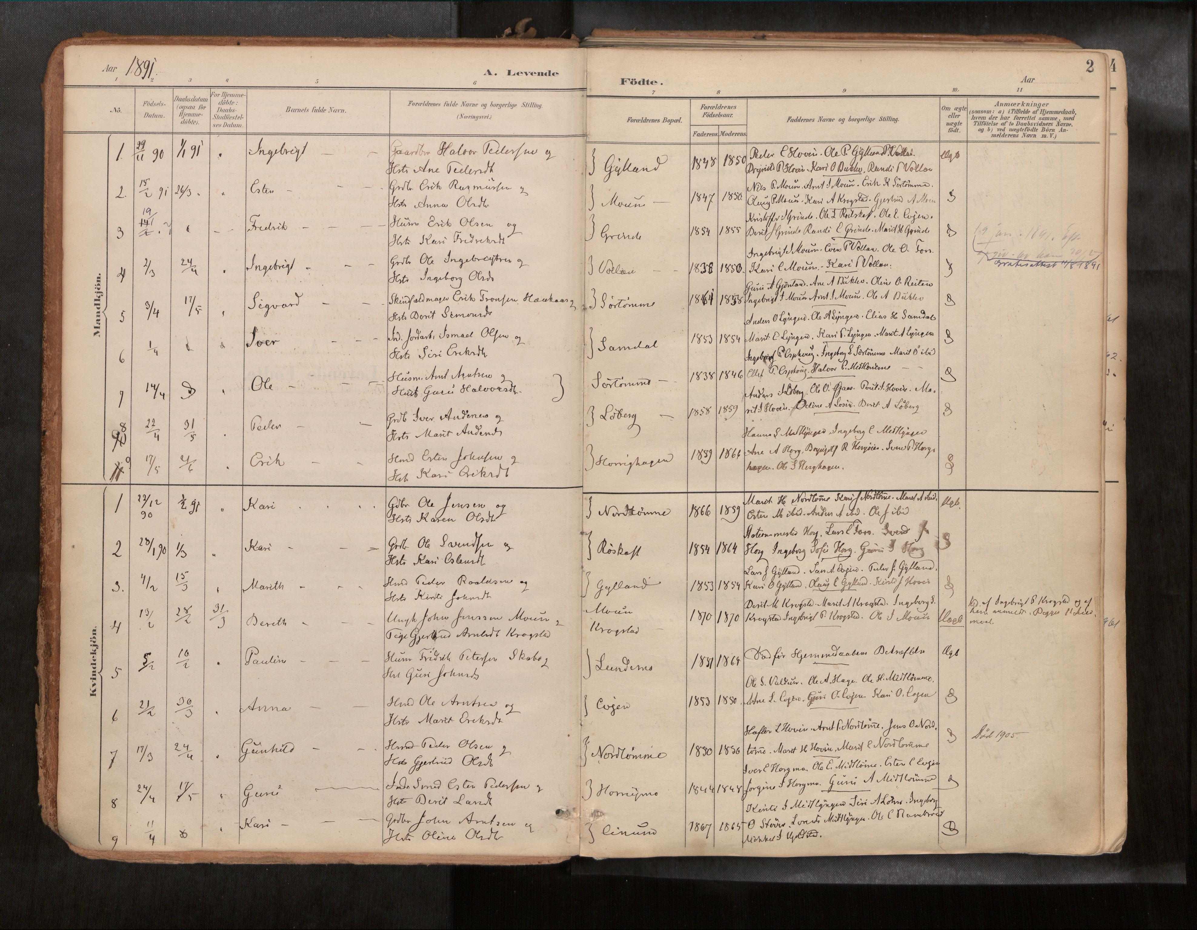SAT, Ministerialprotokoller, klokkerbøker og fødselsregistre - Sør-Trøndelag, 692/L1105b: Ministerialbok nr. 692A06, 1891-1934, s. 2