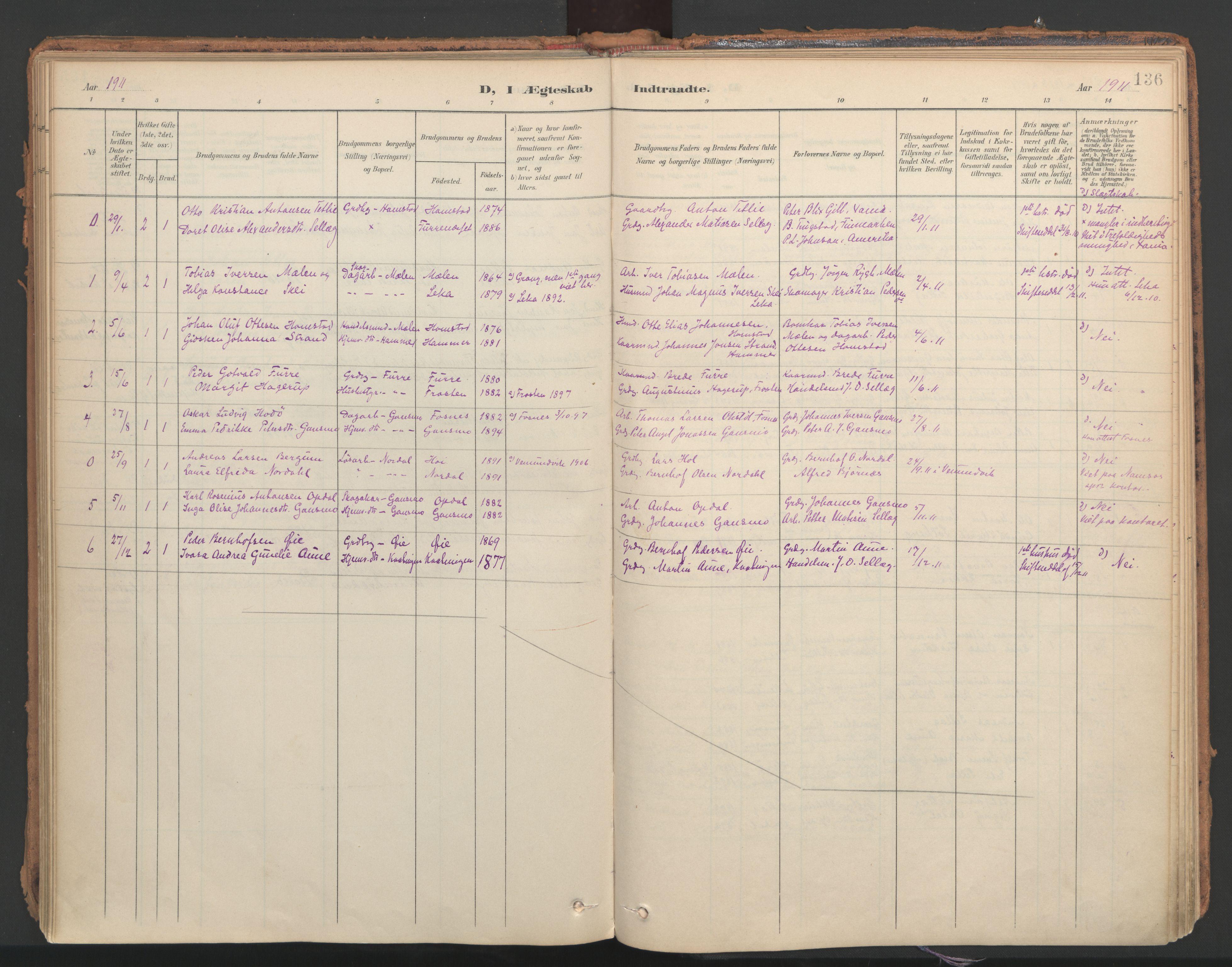 SAT, Ministerialprotokoller, klokkerbøker og fødselsregistre - Nord-Trøndelag, 766/L0564: Ministerialbok nr. 767A02, 1900-1932, s. 136