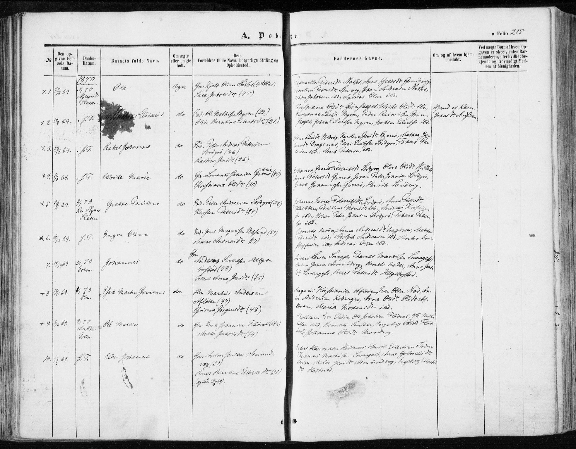 SAT, Ministerialprotokoller, klokkerbøker og fødselsregistre - Sør-Trøndelag, 634/L0531: Ministerialbok nr. 634A07, 1861-1870, s. 215