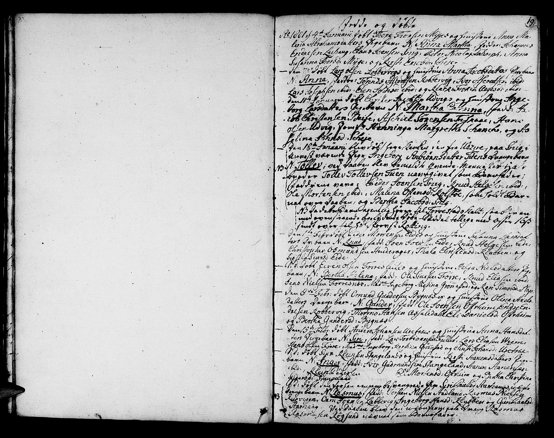 SAST, Avaldsnes sokneprestkontor, H/Ha/Haa/L0003: Ministerialbok nr. A 3, 1801-1817, s. 19