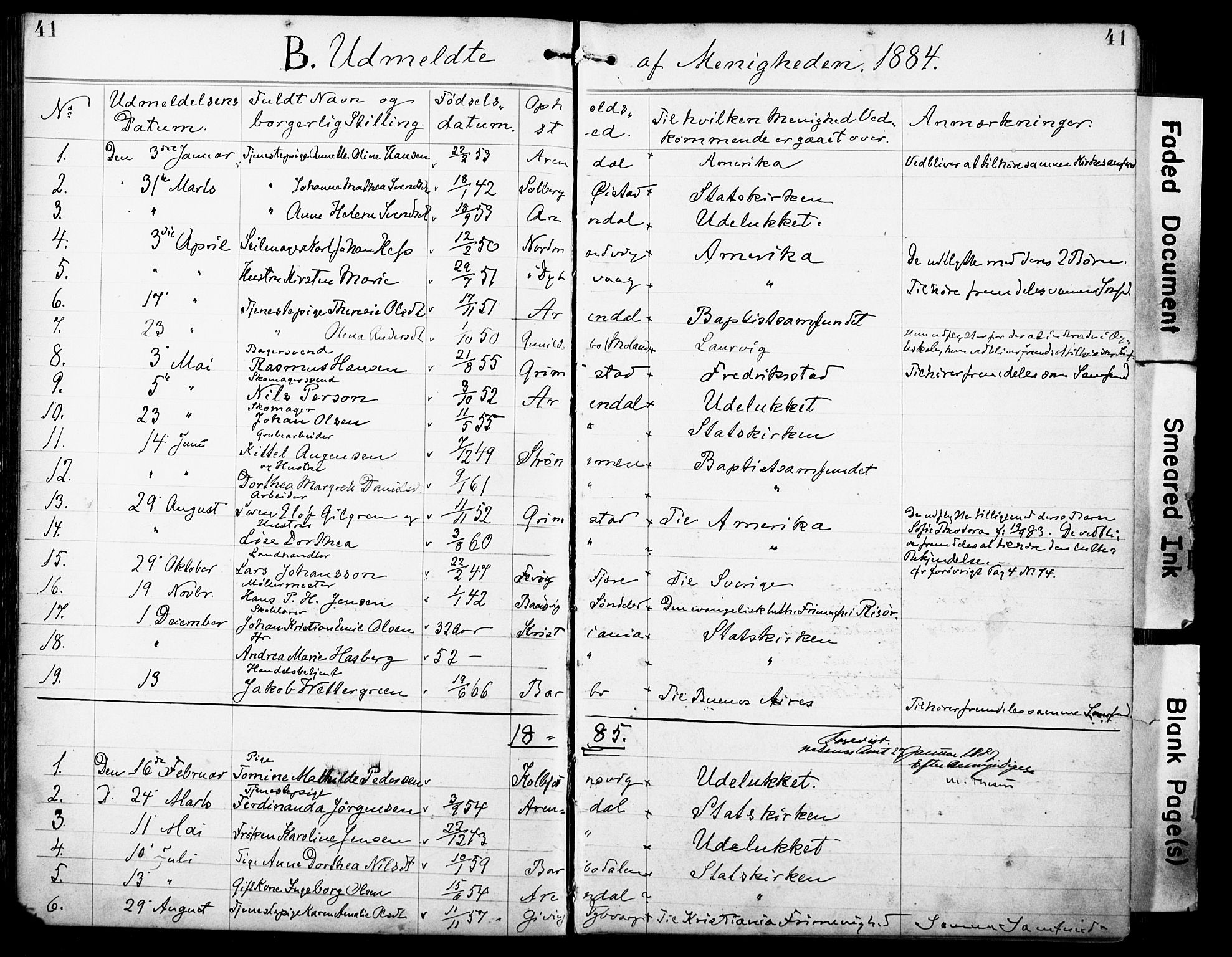 SAK, Den evangelisk-lutherske frimenighet, Arendal, F/Fa/L0002: Dissenterprotokoll nr. F 6, 1884-1908, s. 41