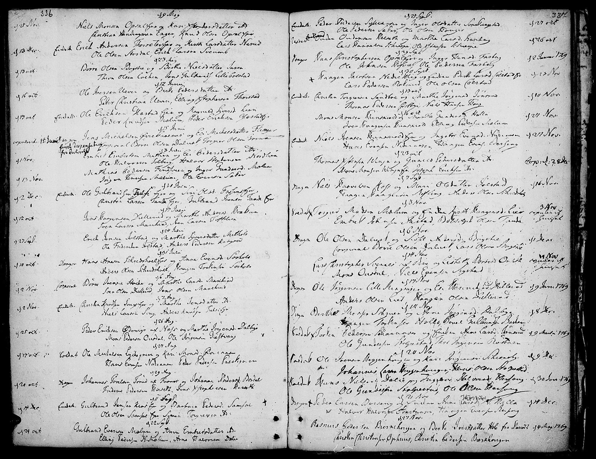 SAH, Ringsaker prestekontor, K/Ka/L0002: Ministerialbok nr. 2, 1747-1774, s. 336-337