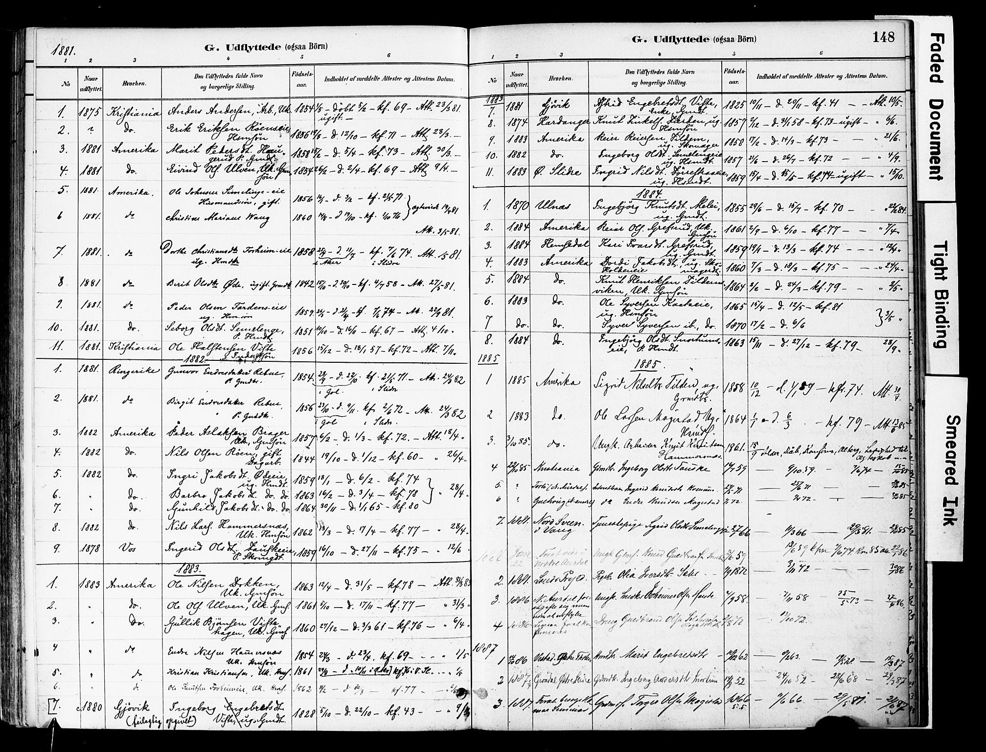 SAH, Vestre Slidre prestekontor, Ministerialbok nr. 6, 1881-1912, s. 148
