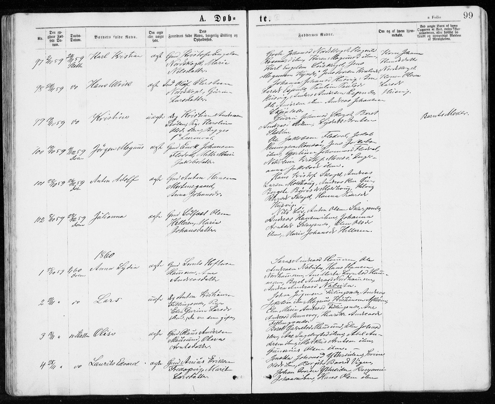 SAT, Ministerialprotokoller, klokkerbøker og fødselsregistre - Sør-Trøndelag, 640/L0576: Ministerialbok nr. 640A01, 1846-1876, s. 99