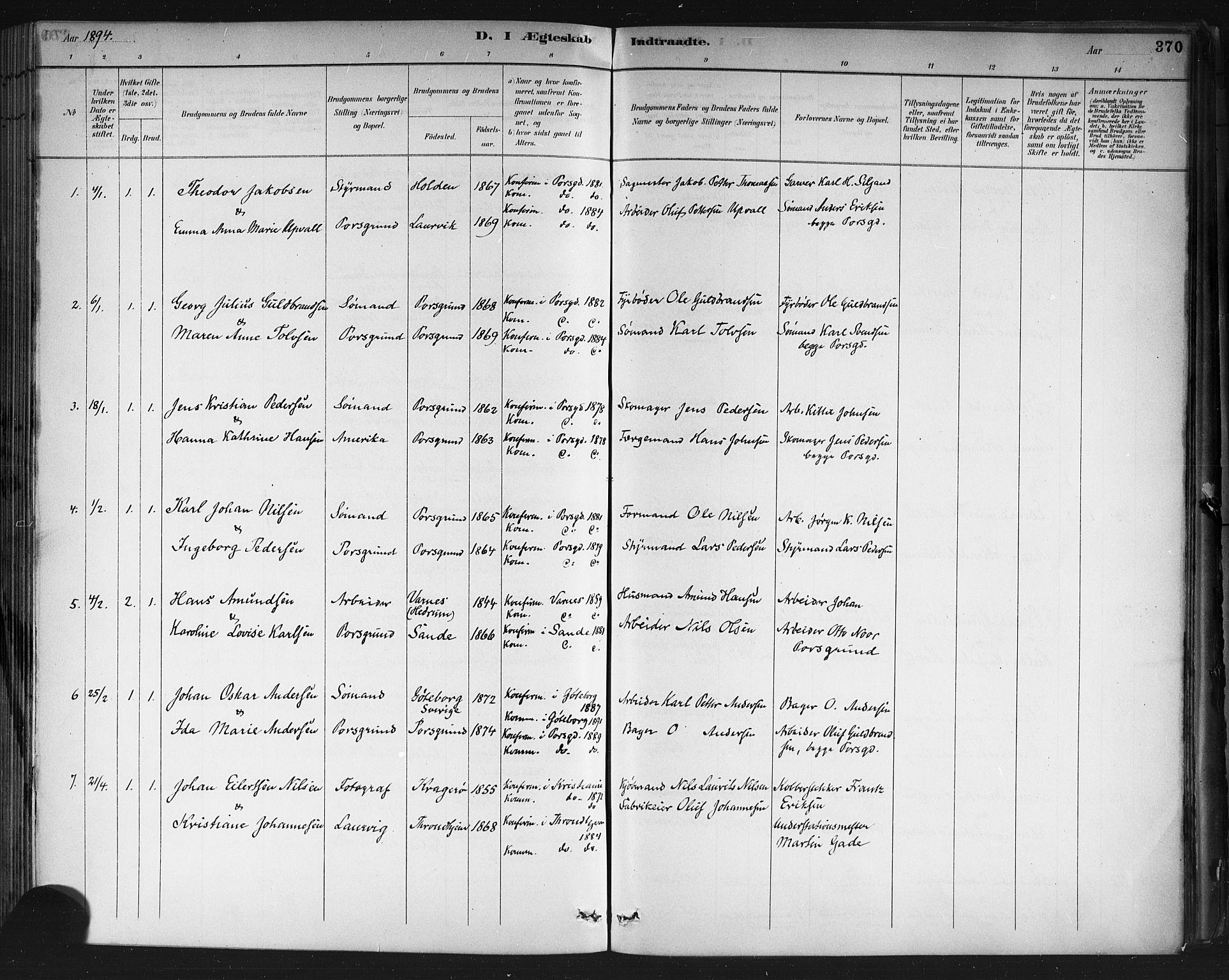 SAKO, Porsgrunn kirkebøker , G/Gb/L0005: Klokkerbok nr. II 5, 1883-1915, s. 370