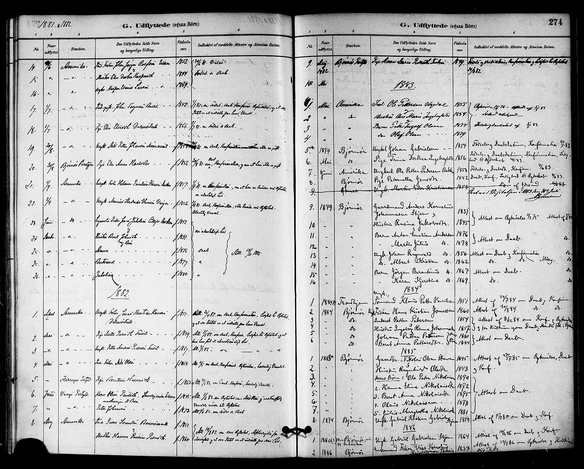 SAT, Ministerialprotokoller, klokkerbøker og fødselsregistre - Sør-Trøndelag, 655/L0680: Ministerialbok nr. 655A09, 1880-1894, s. 274