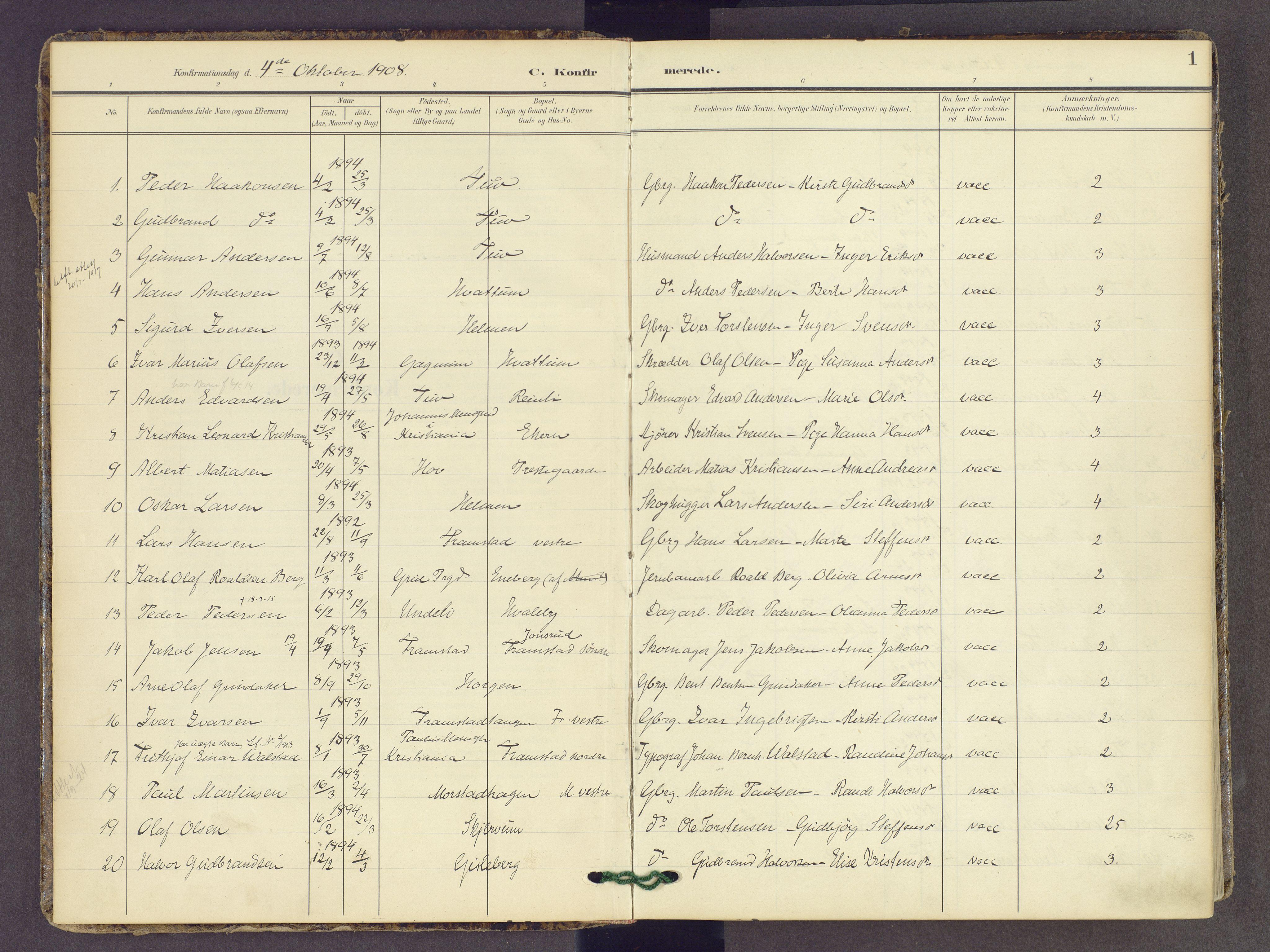 SAH, Gran prestekontor, Ministerialbok nr. 22, 1908-1918, s. 1