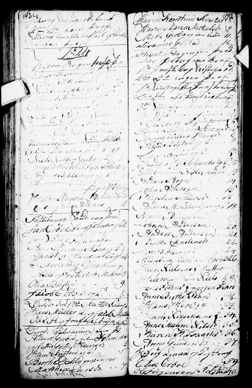 SAKO, Porsgrunn kirkebøker , G/Ga/L0001: Klokkerbok nr. I 1, 1766-1790, s. 142-143