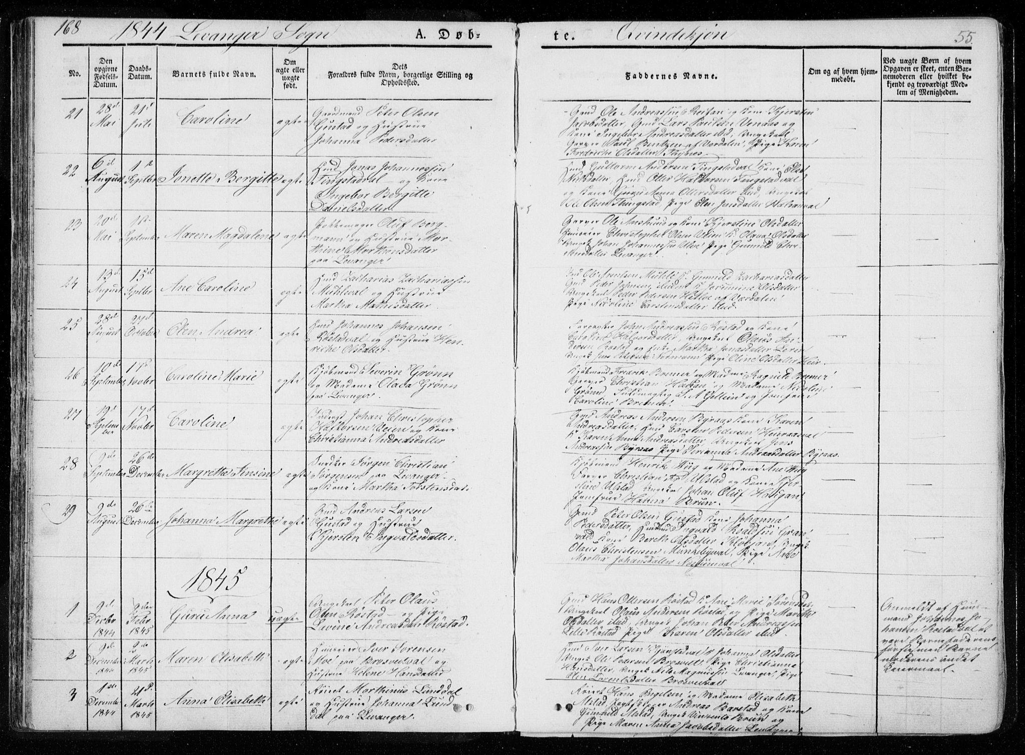 SAT, Ministerialprotokoller, klokkerbøker og fødselsregistre - Nord-Trøndelag, 720/L0183: Ministerialbok nr. 720A01, 1836-1855, s. 55