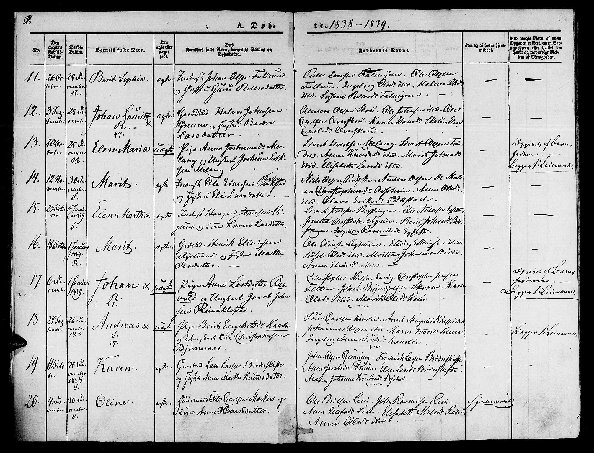 SAT, Ministerialprotokoller, klokkerbøker og fødselsregistre - Sør-Trøndelag, 646/L0610: Ministerialbok nr. 646A08, 1837-1847, s. 2