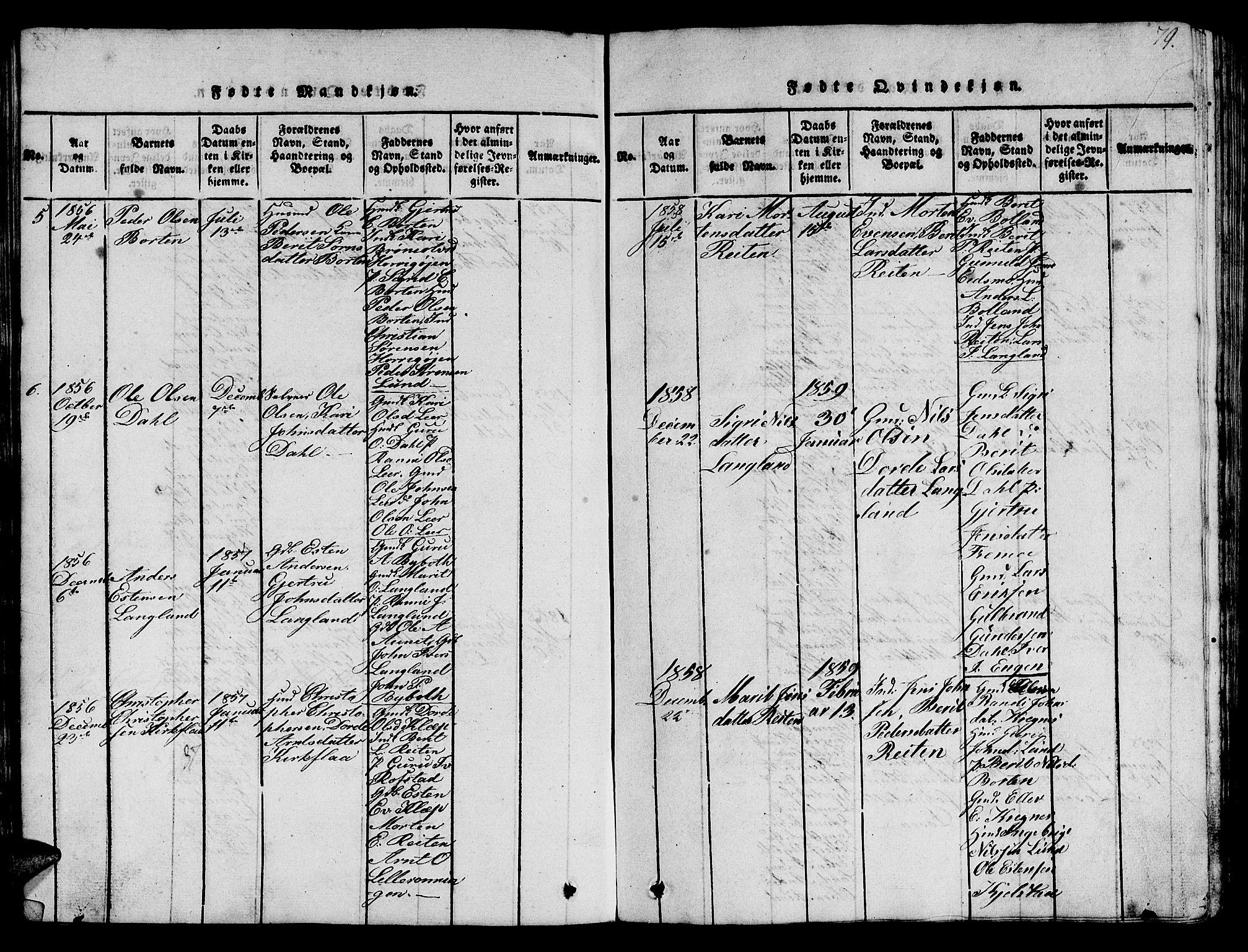 SAT, Ministerialprotokoller, klokkerbøker og fødselsregistre - Sør-Trøndelag, 693/L1121: Klokkerbok nr. 693C02, 1816-1869, s. 79
