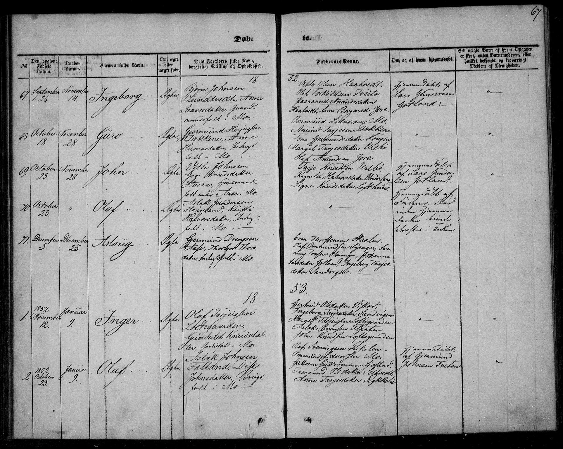 SAKO, Mo kirkebøker, F/Fa/L0005: Ministerialbok nr. I 5, 1844-1864, s. 67