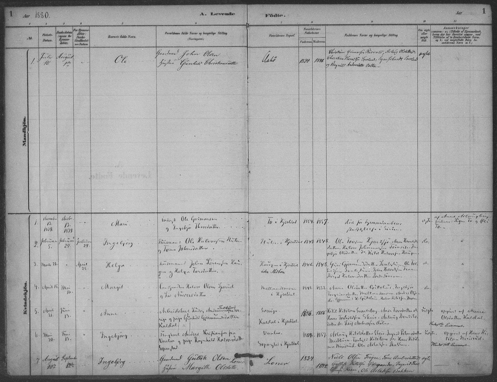 SAKO, Hjartdal kirkebøker, F/Fa/L0010: Ministerialbok nr. I 10, 1880-1929, s. 1